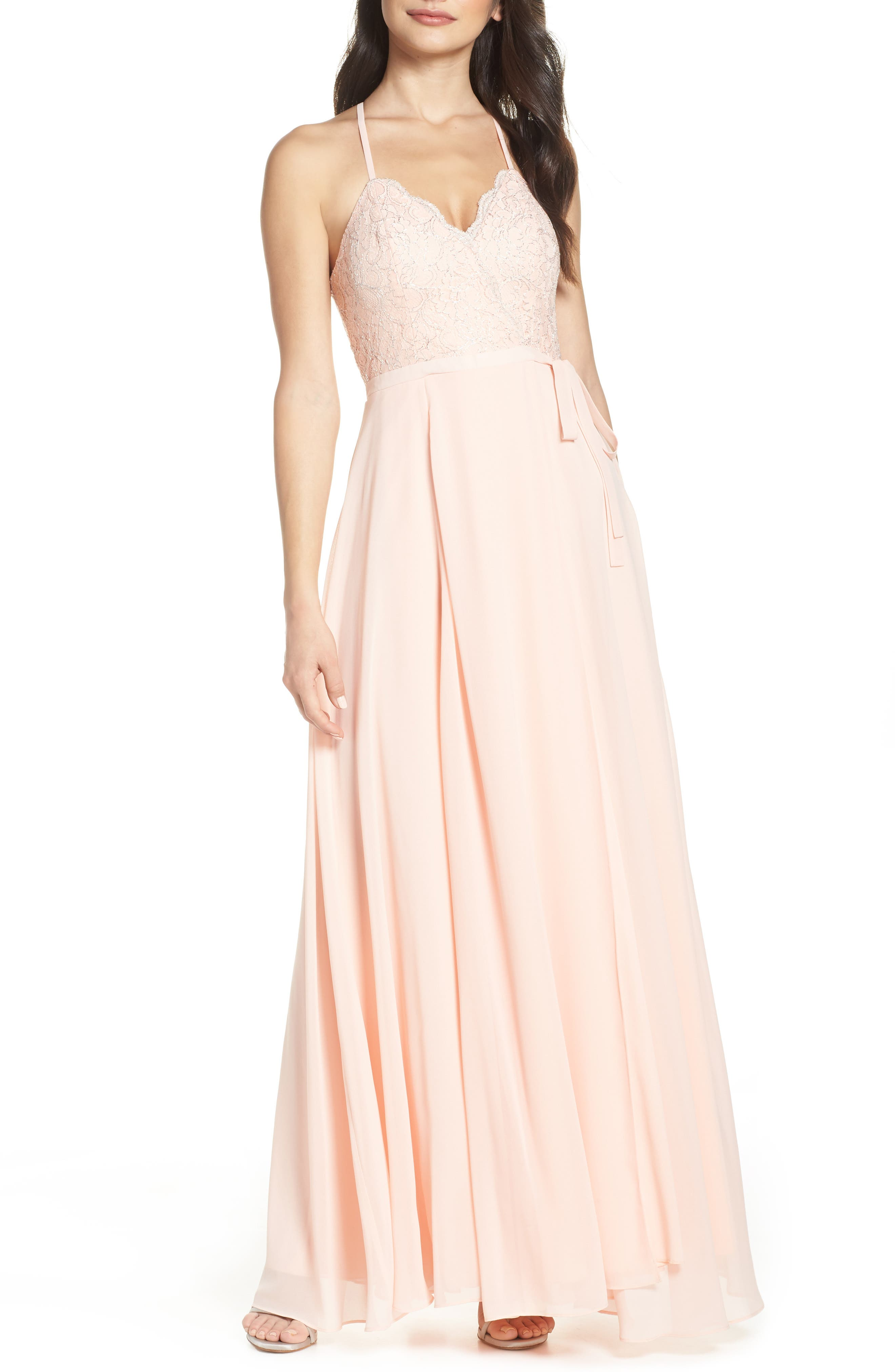 Sequin Hearts Lace & Georgette Wrap Evening Dress, Pink