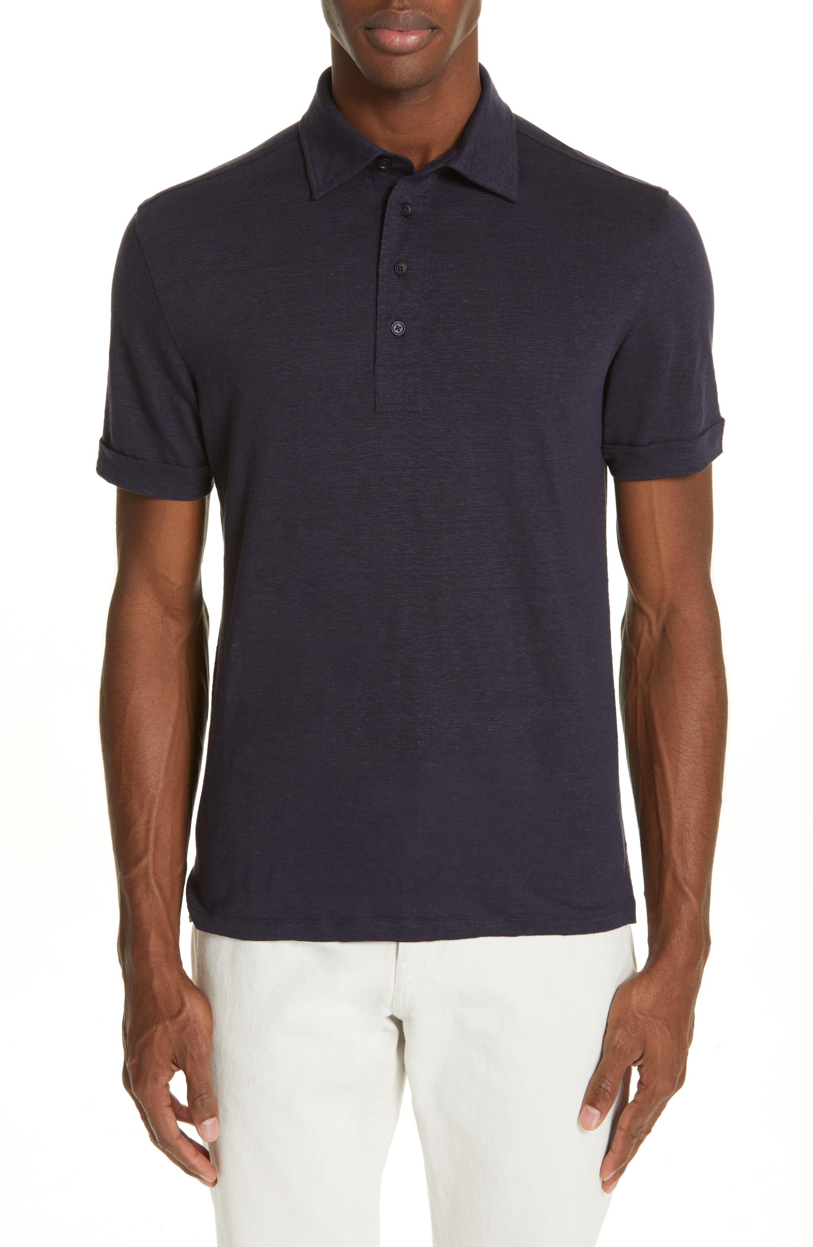 ERMENEGILDO ZEGNA Ermenegilda Zegna Linen Polo Shirt, Main, color, NAVY