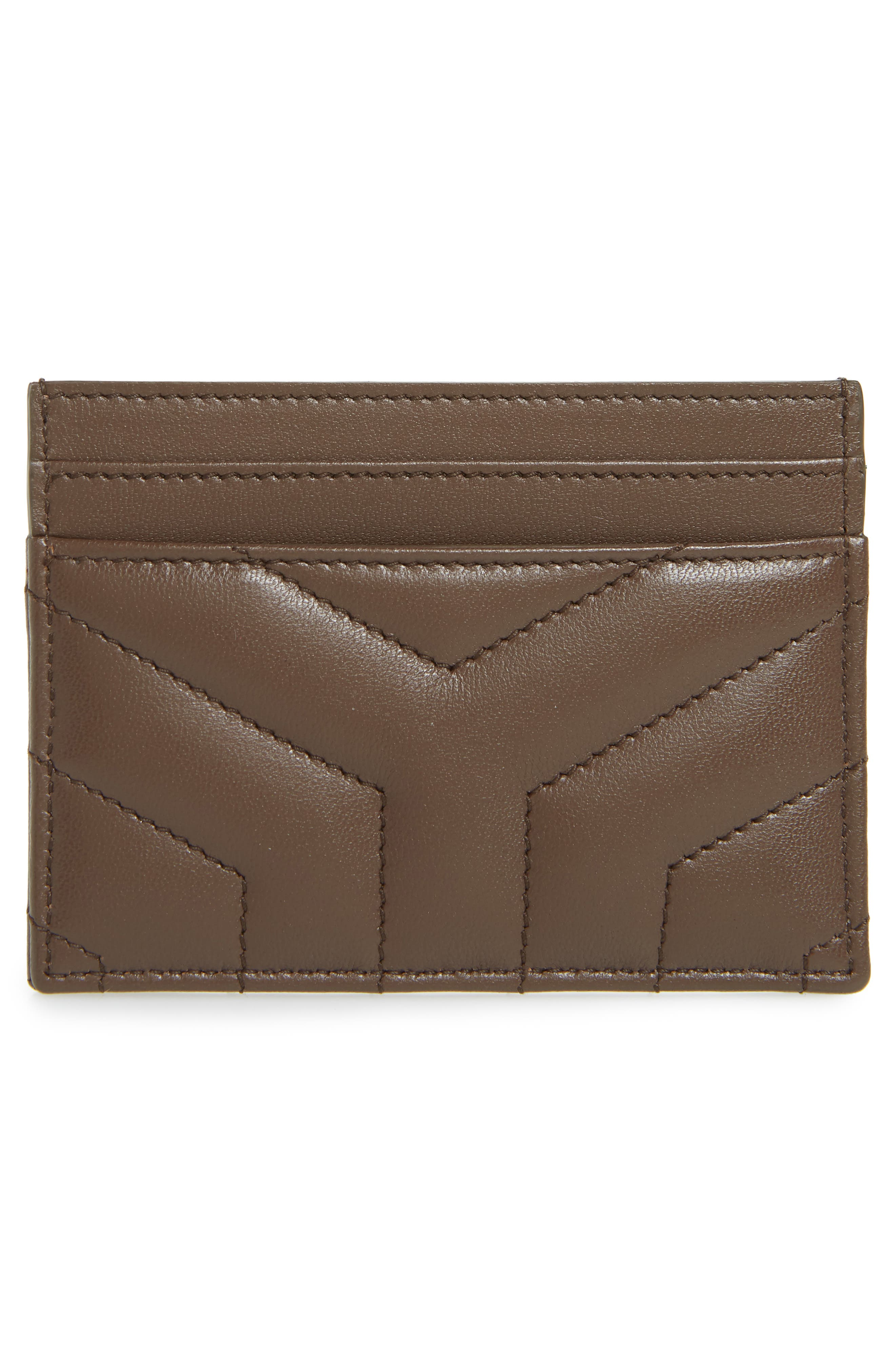 SAINT LAURENT, Loulou Monogram Quilted Leather Credit Card Case, Alternate thumbnail 2, color, FAGGIO