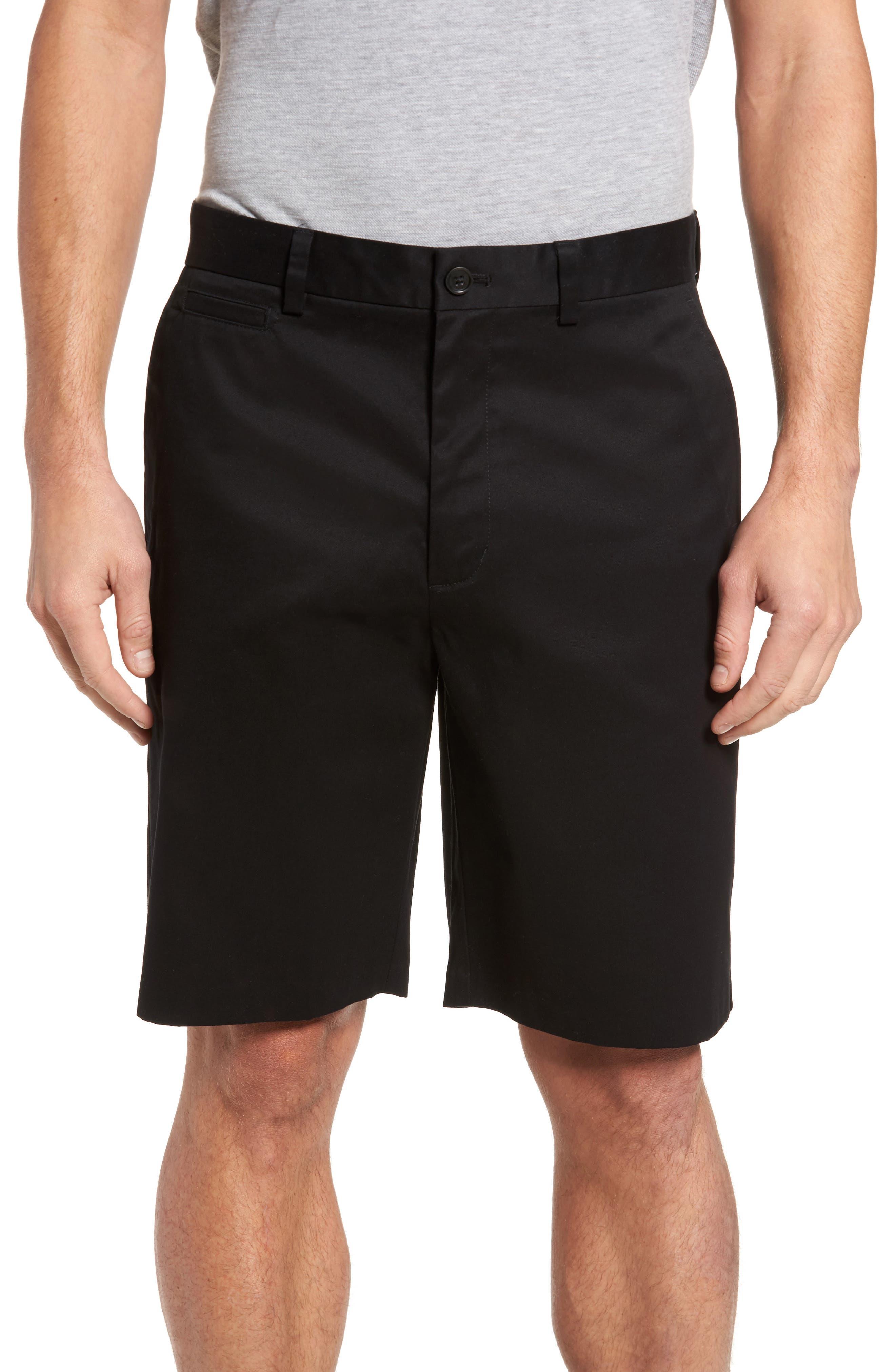 NORDSTROM MEN'S SHOP, Smartcare<sup>™</sup> Flat Front Shorts, Main thumbnail 1, color, BLACK