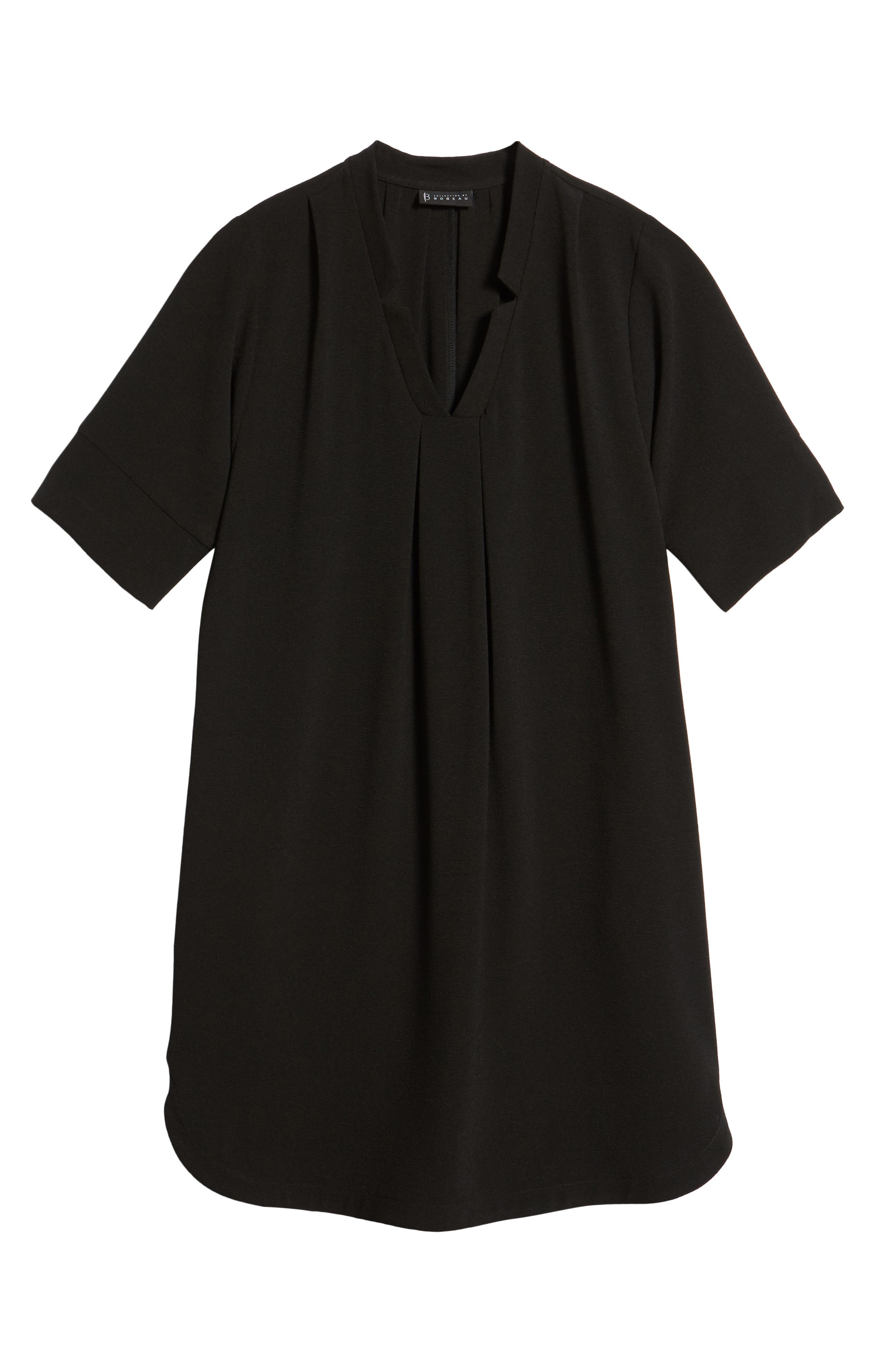 BOBEAU, Pleat Front Curved Hem Shirtdress, Alternate thumbnail 7, color, BLACK