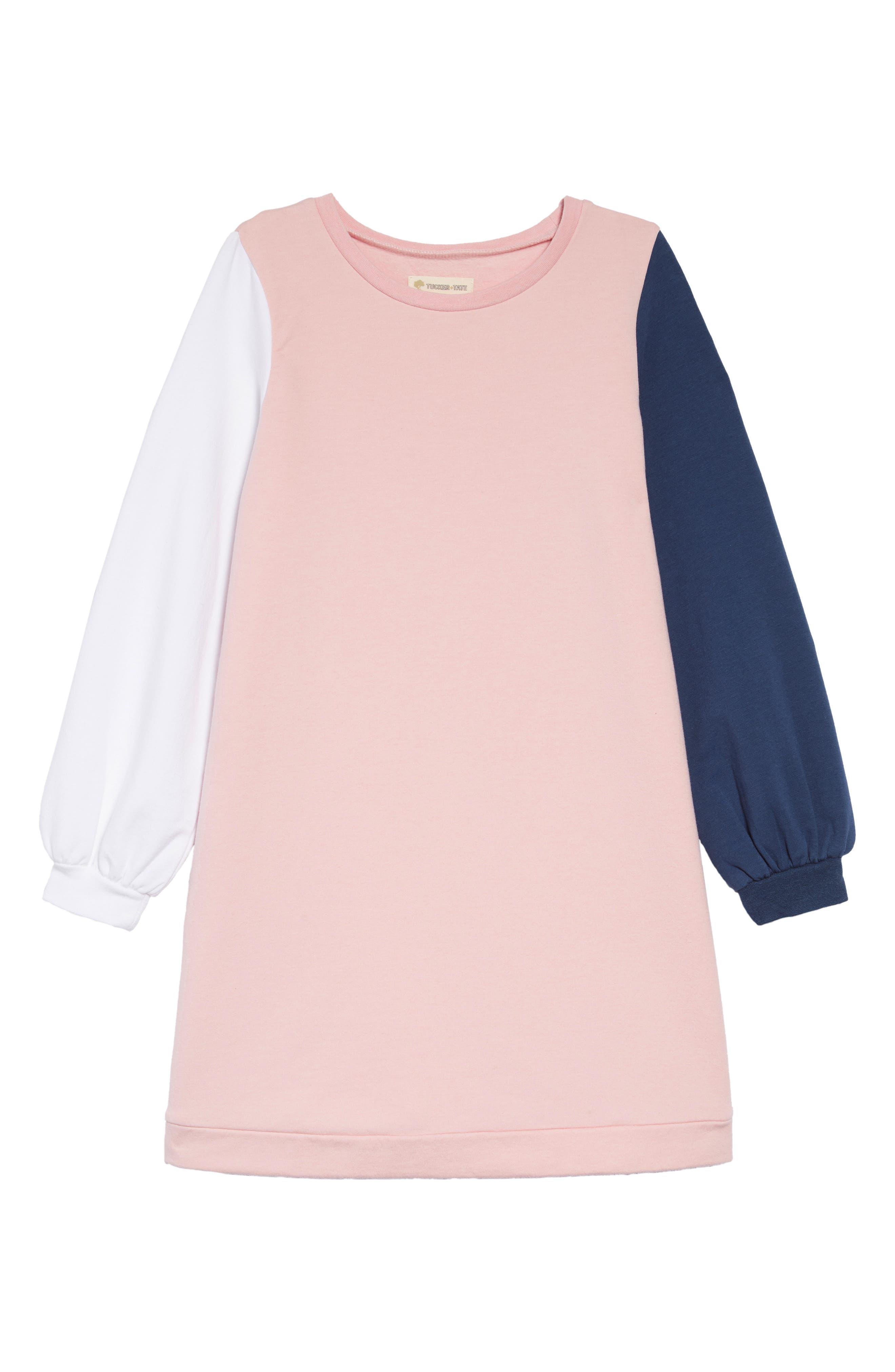 TUCKER + TATE Colorblock Fleece Dress, Main, color, 680