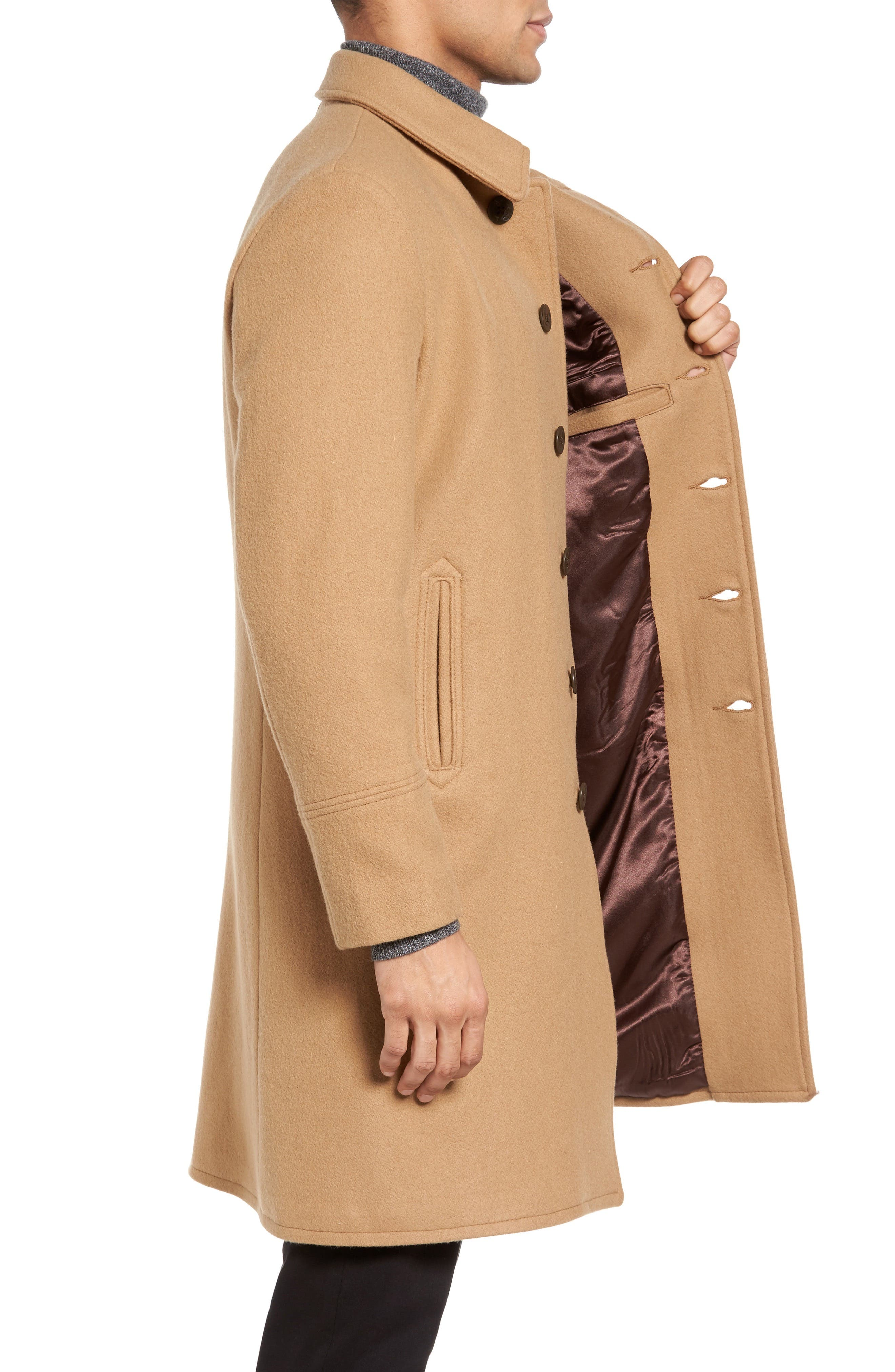 SCHOTT NYC, Wool Blend Officer's Coat, Alternate thumbnail 3, color, 200