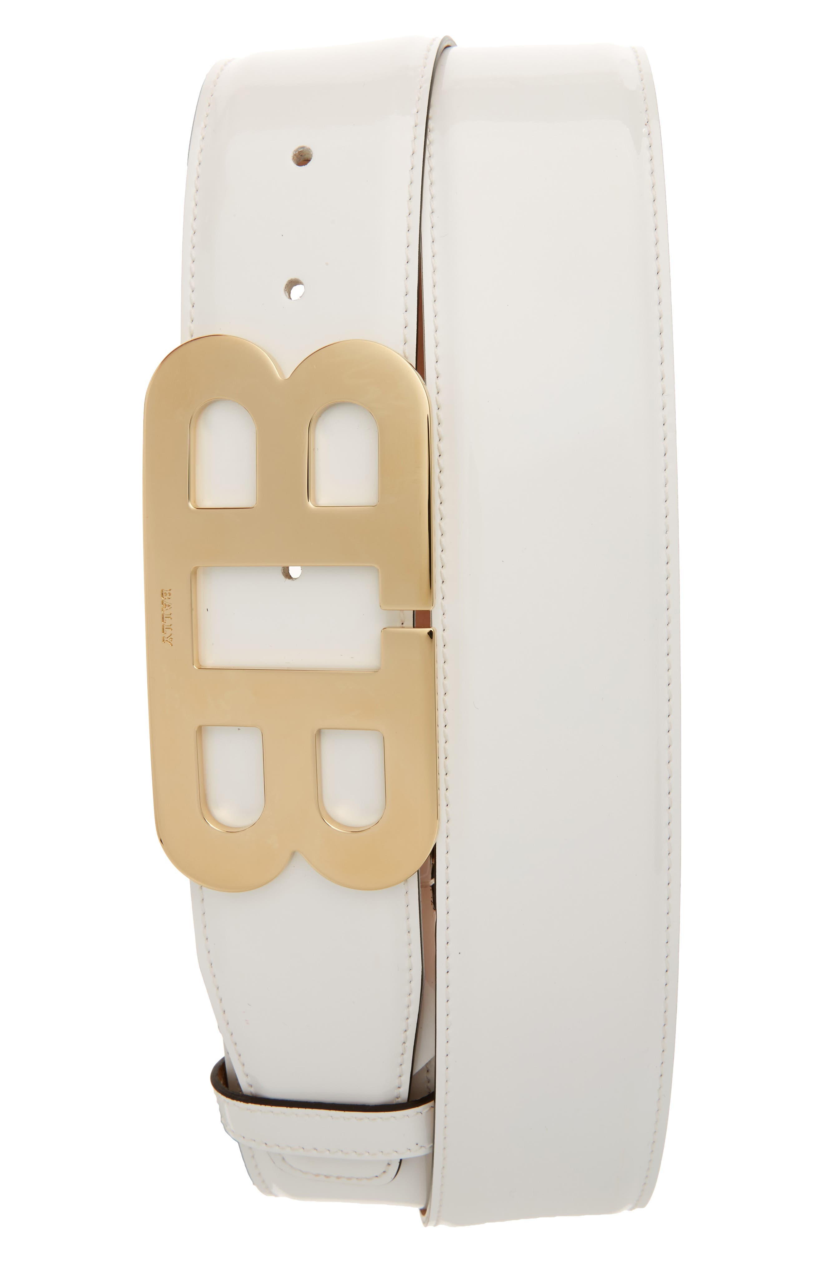 BALLY, Mirror Buckle Patent Leather Belt, Main thumbnail 1, color, 101