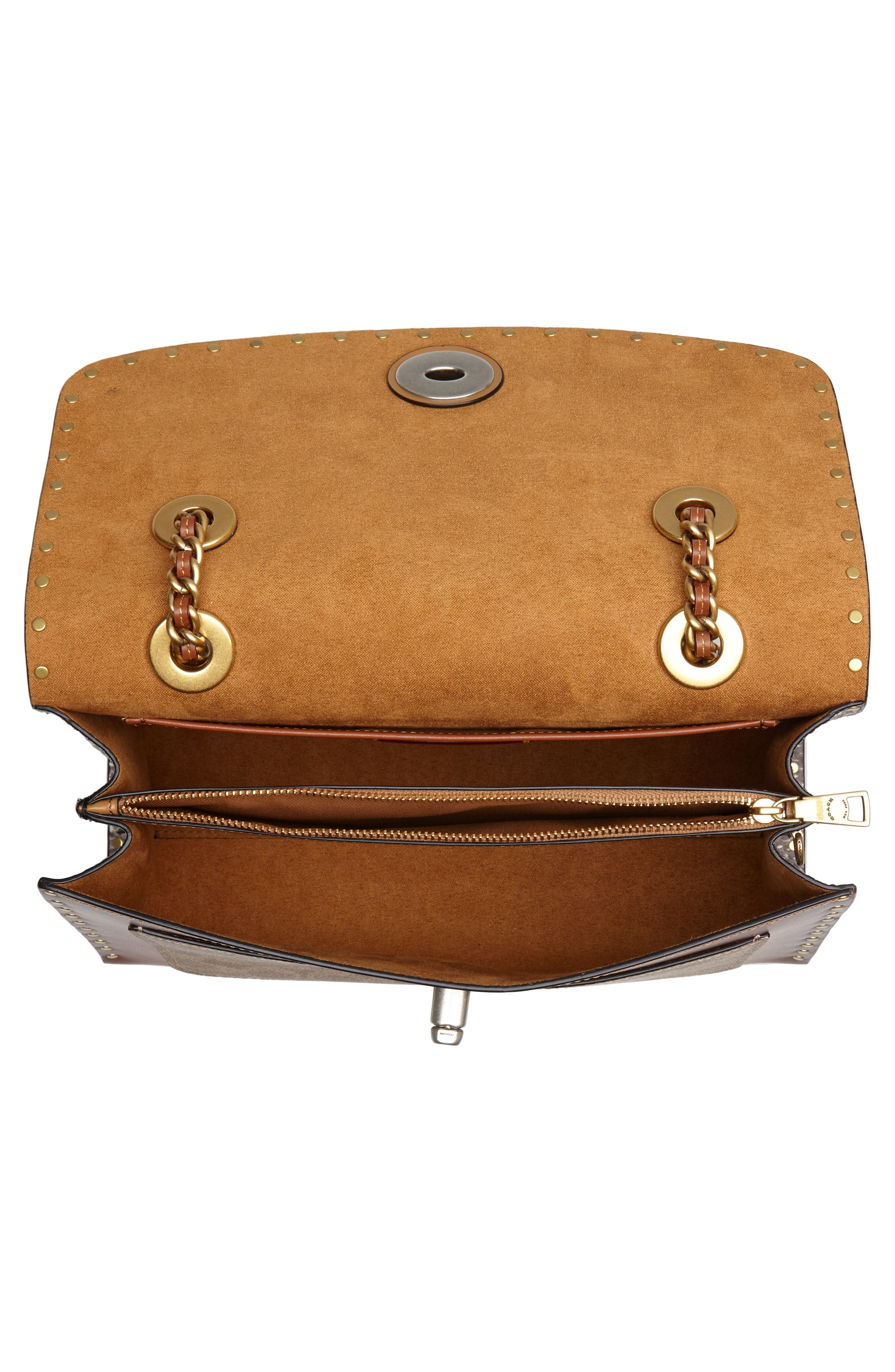 COACH, Parker Leather & Genuine Snakeskin Shoulder Bag, Alternate thumbnail 5, color, BLACK MULTI