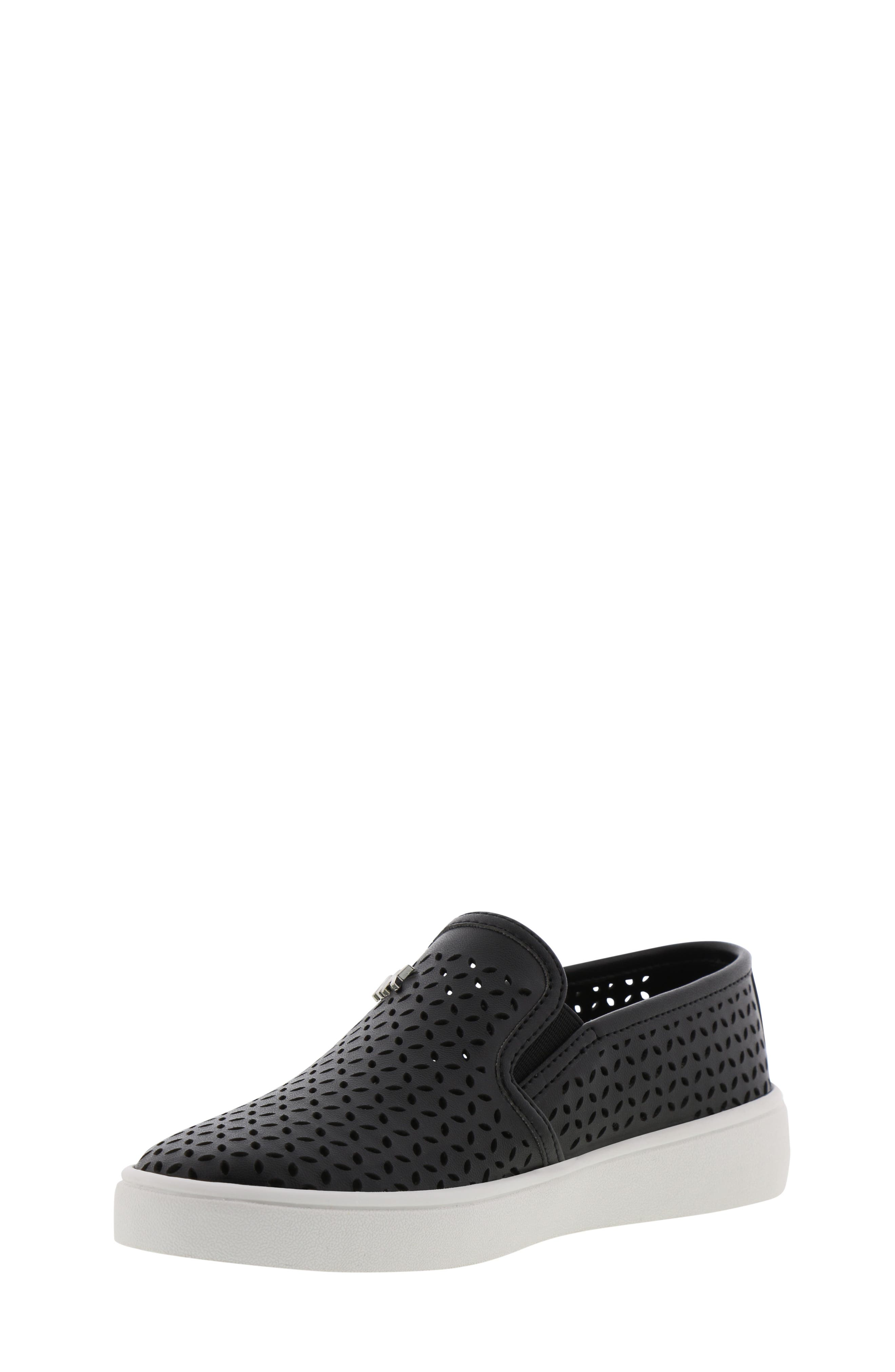 MICHAEL MICHAEL KORS, Jem Olivia Perforated Slip-On Sneaker, Alternate thumbnail 9, color, BLACK