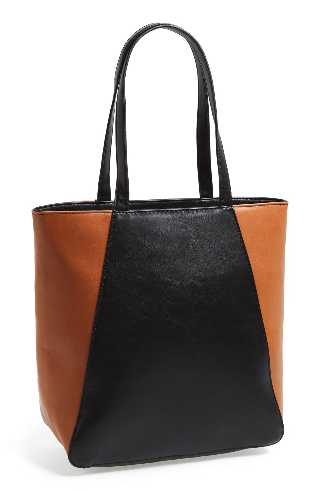 SOLE SOCIETY, Faux Leather Tote, Main thumbnail 1, color, 001