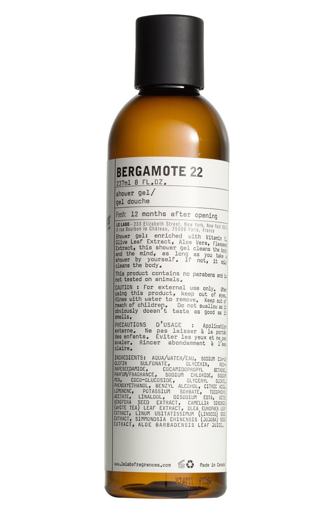 LE LABO, 'Bergamote 22' Shower Gel, Main thumbnail 1, color, NO COLOR