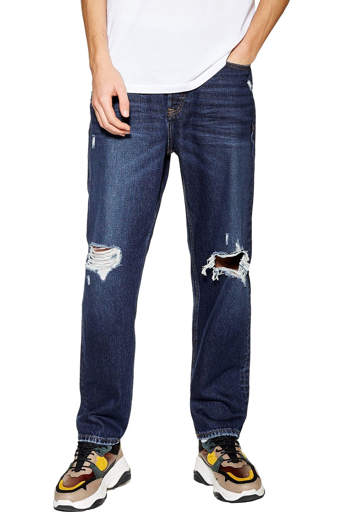TOPMAN, Mikey Original Fit Jeans, Main thumbnail 1, color, 400