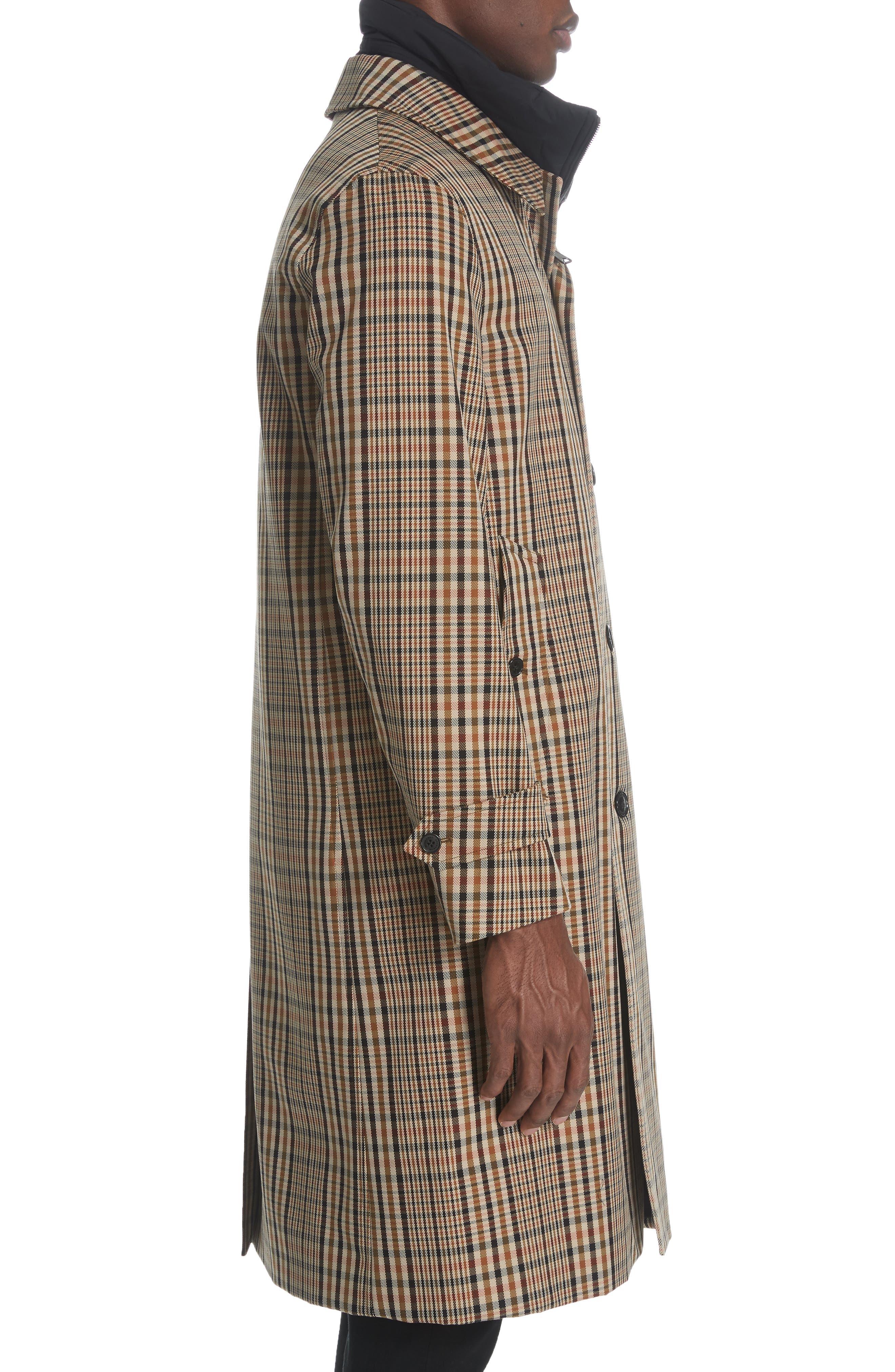 BURBERRY, Lenthorne Check Car Coat with Detachable Vest, Alternate thumbnail 4, color, DARK CAMEL