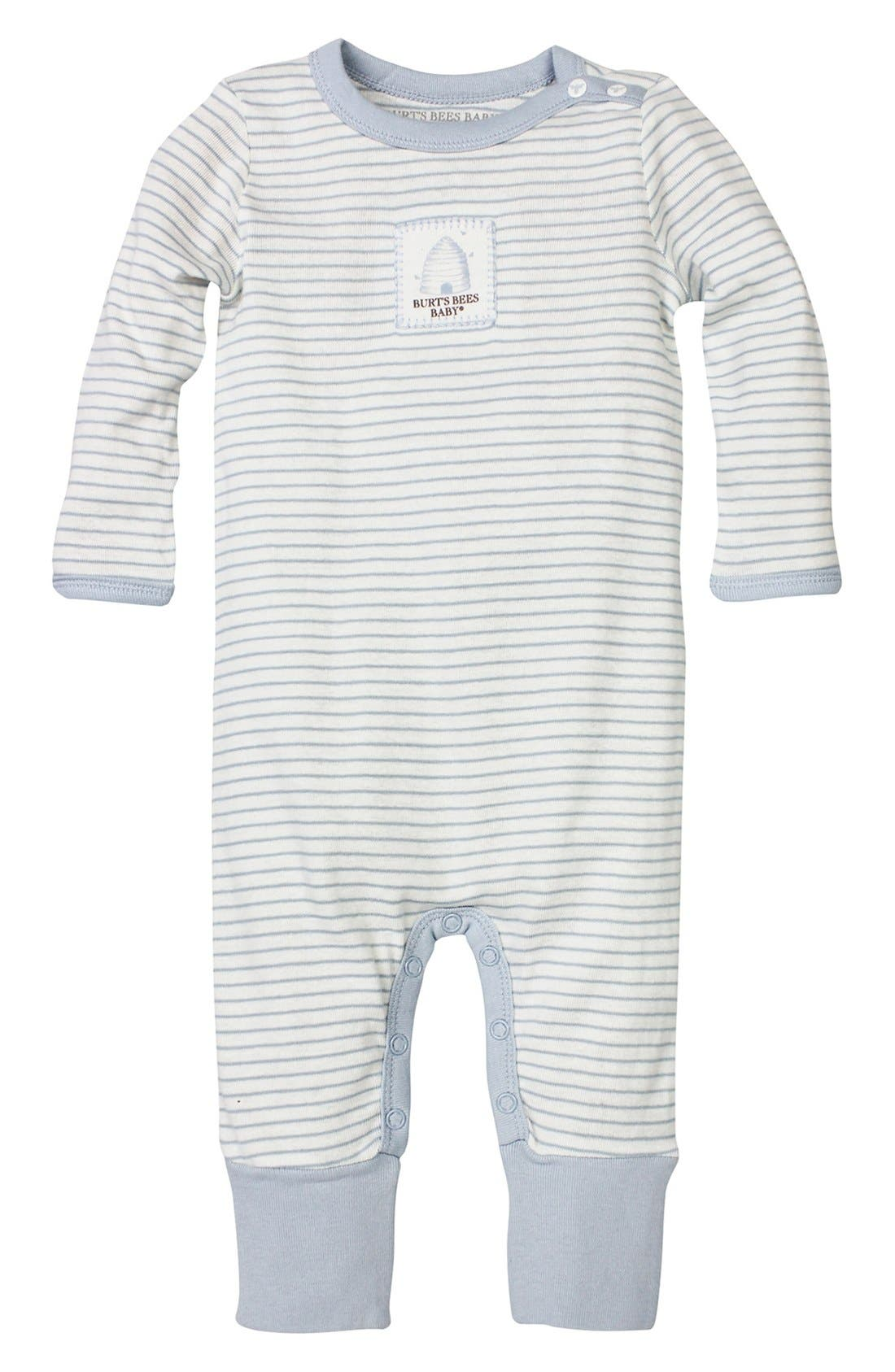 BURT'S BEES BABY, Stripe Organic Cotton Romper, Main thumbnail 1, color, 451