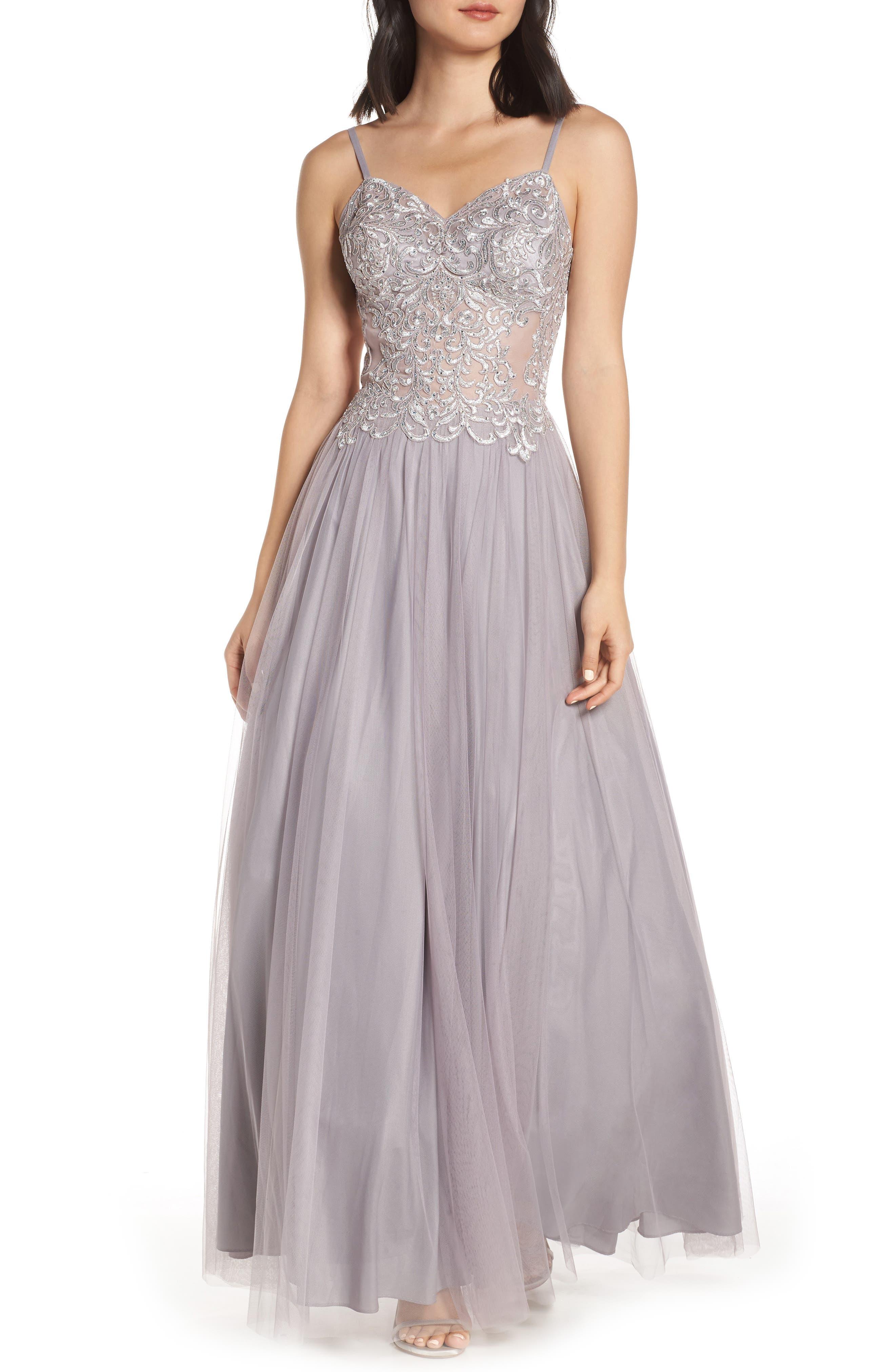 Blondie Nites Applique Illusion Mesh Evening Dress, Purple