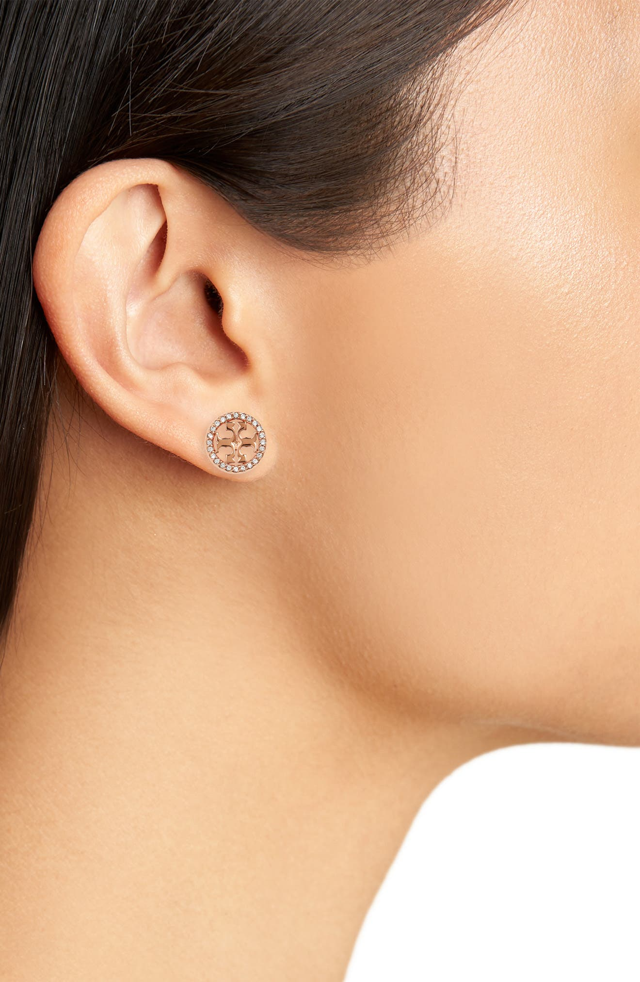 TORY BURCH, Crystal Logo Circle Stud Earrings, Alternate thumbnail 2, color, ROSE GOLD/ CRYSTAL