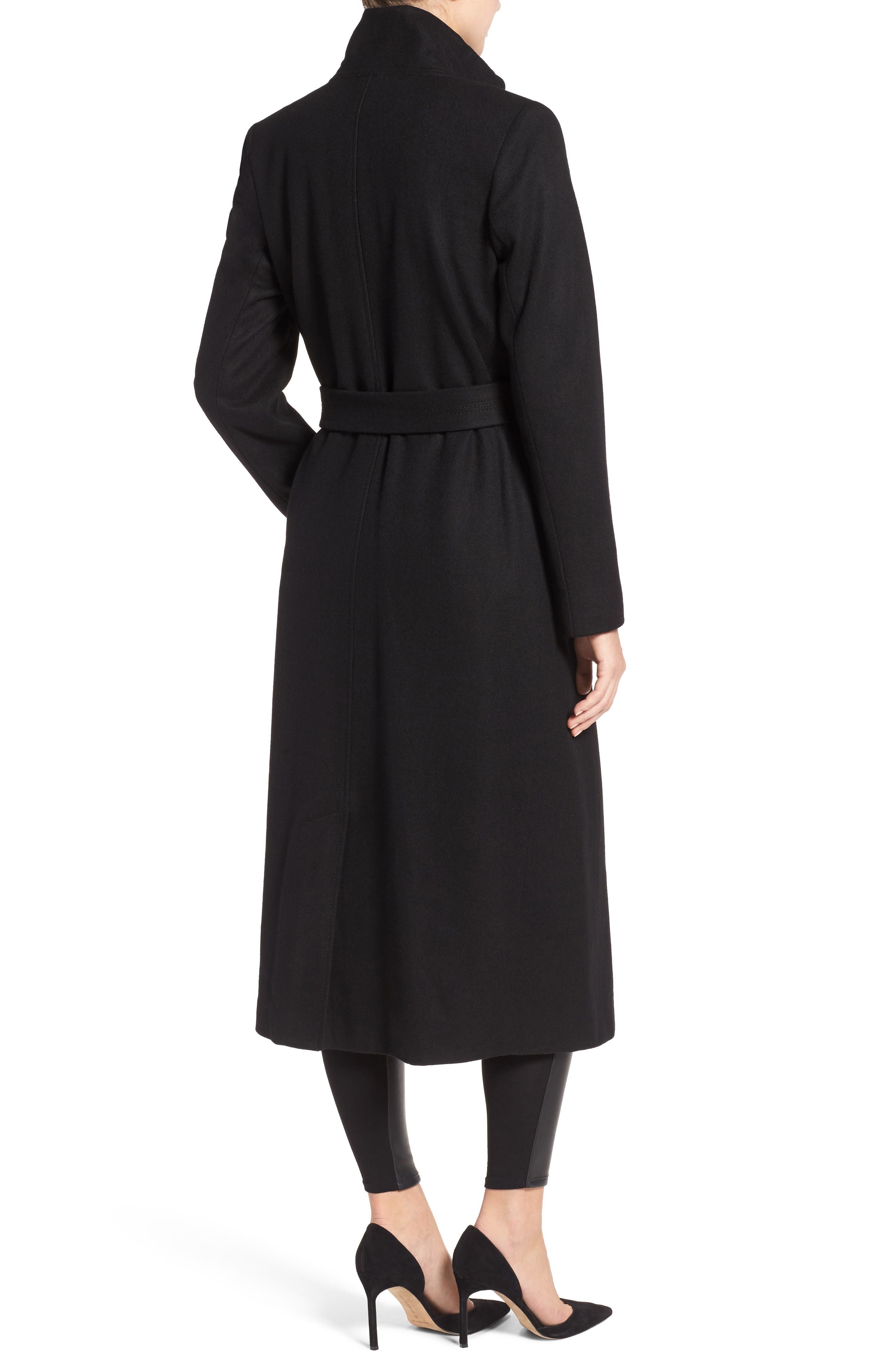 KENNETH COLE NEW YORK, Fencer Melton Wool Maxi Coat, Alternate thumbnail 2, color, 001