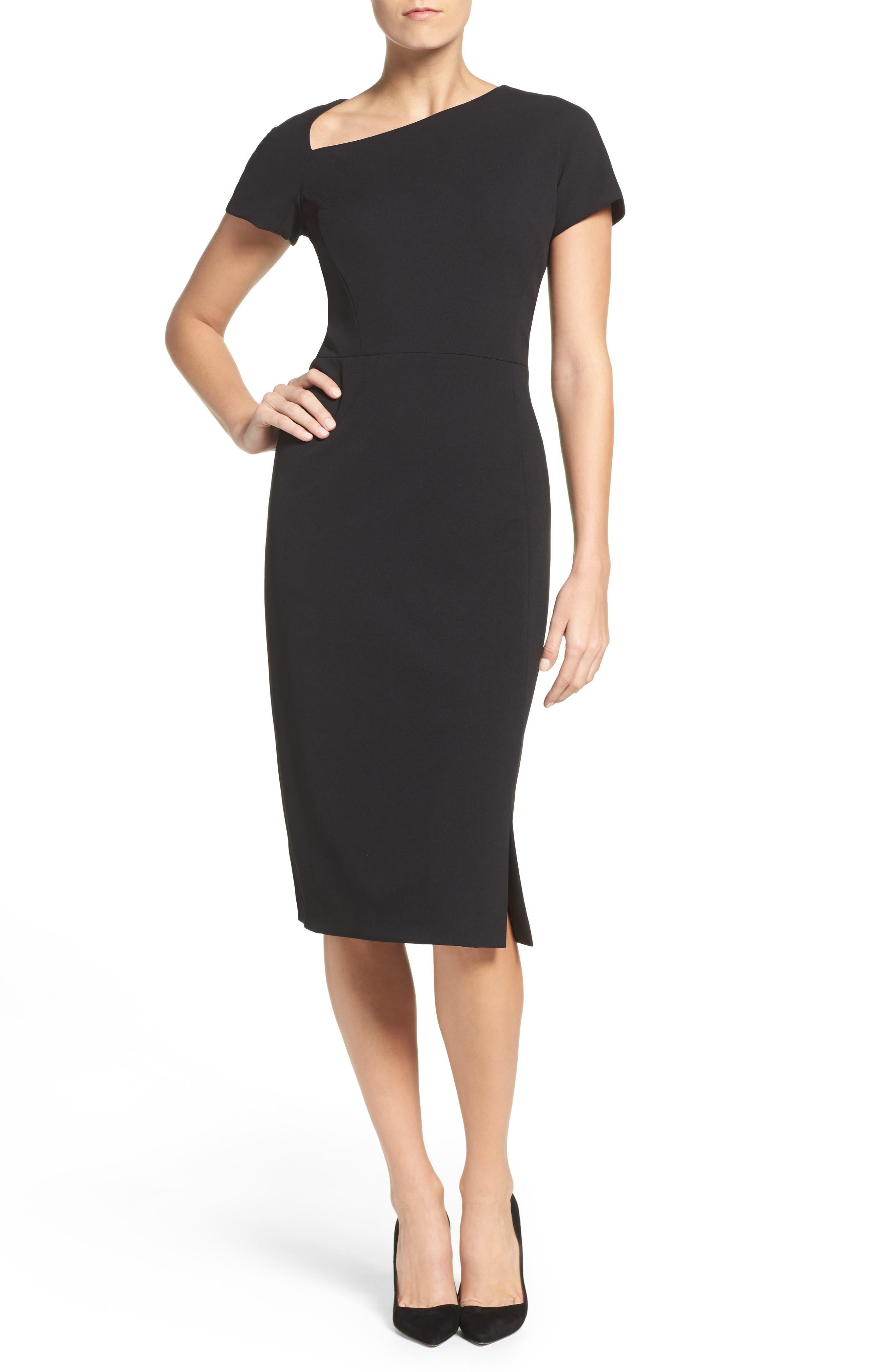 MAGGY LONDON Asymmetrical Sheath Dress, Main, color, 001