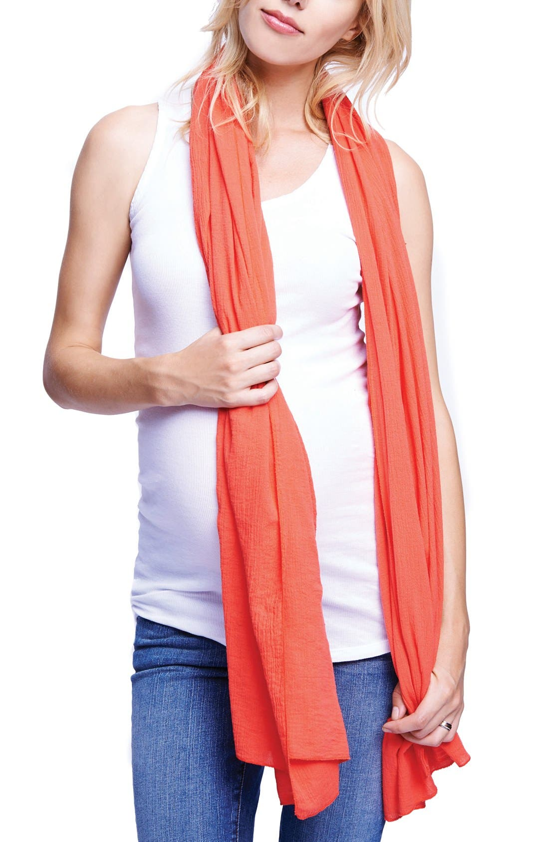 MATERNAL AMERICA, Nursing Scarf, Main thumbnail 1, color, CORAL
