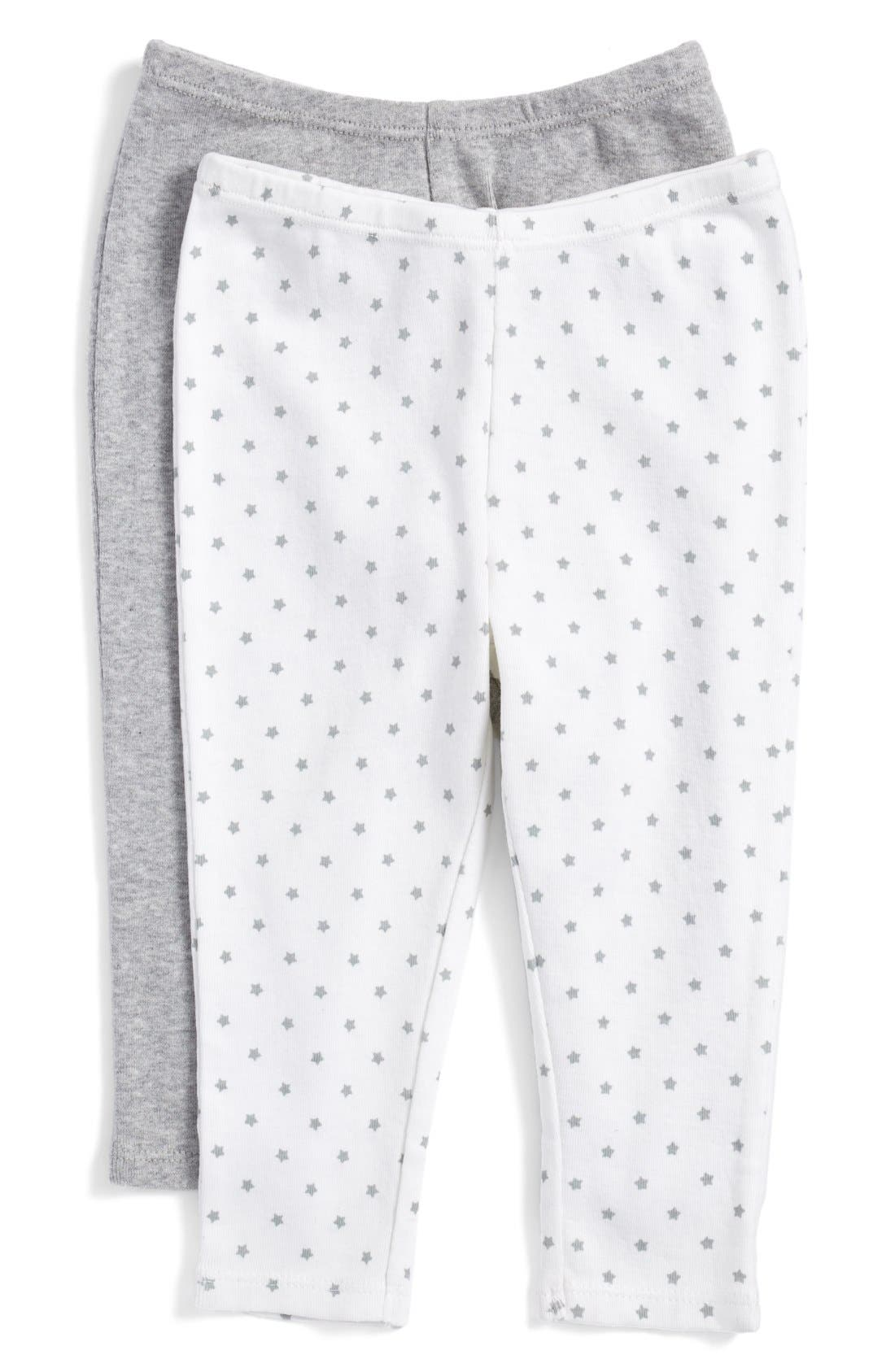 NORDSTROM BABY, Cotton Pants, Main thumbnail 1, color, GREY ASH HEATHER STAR PACK