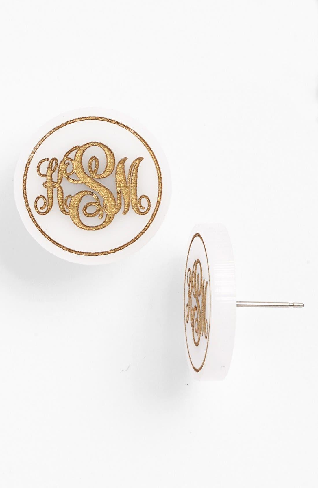 MOON AND LOLA, 'Chelsea' Medium Personalized Monogram Stud Earrings, Main thumbnail 1, color, SNOW/ GOLD