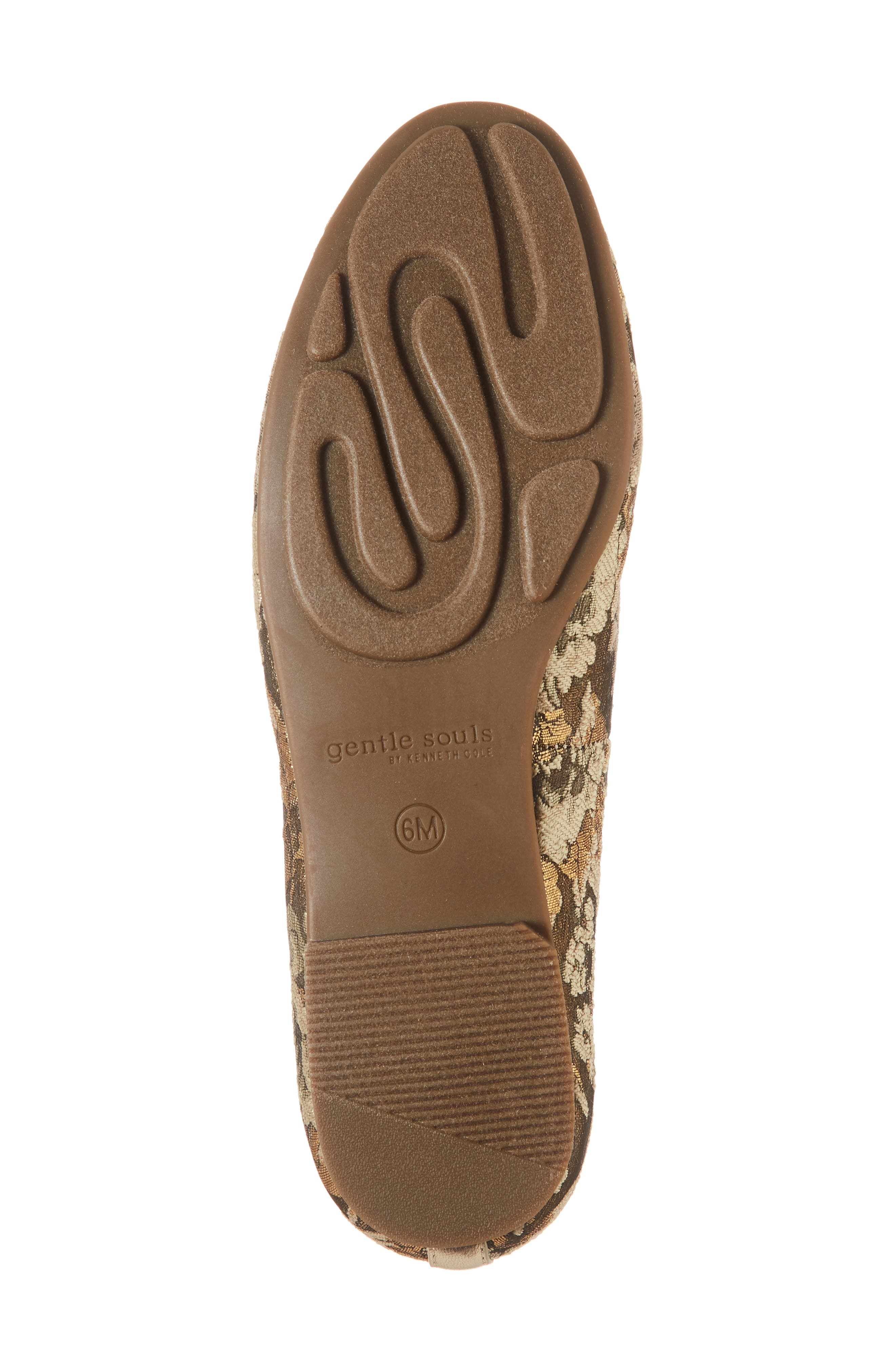 GENTLE SOULS BY KENNETH COLE, Eugene Flat, Alternate thumbnail 6, color, GOLD MULTI FABRIC