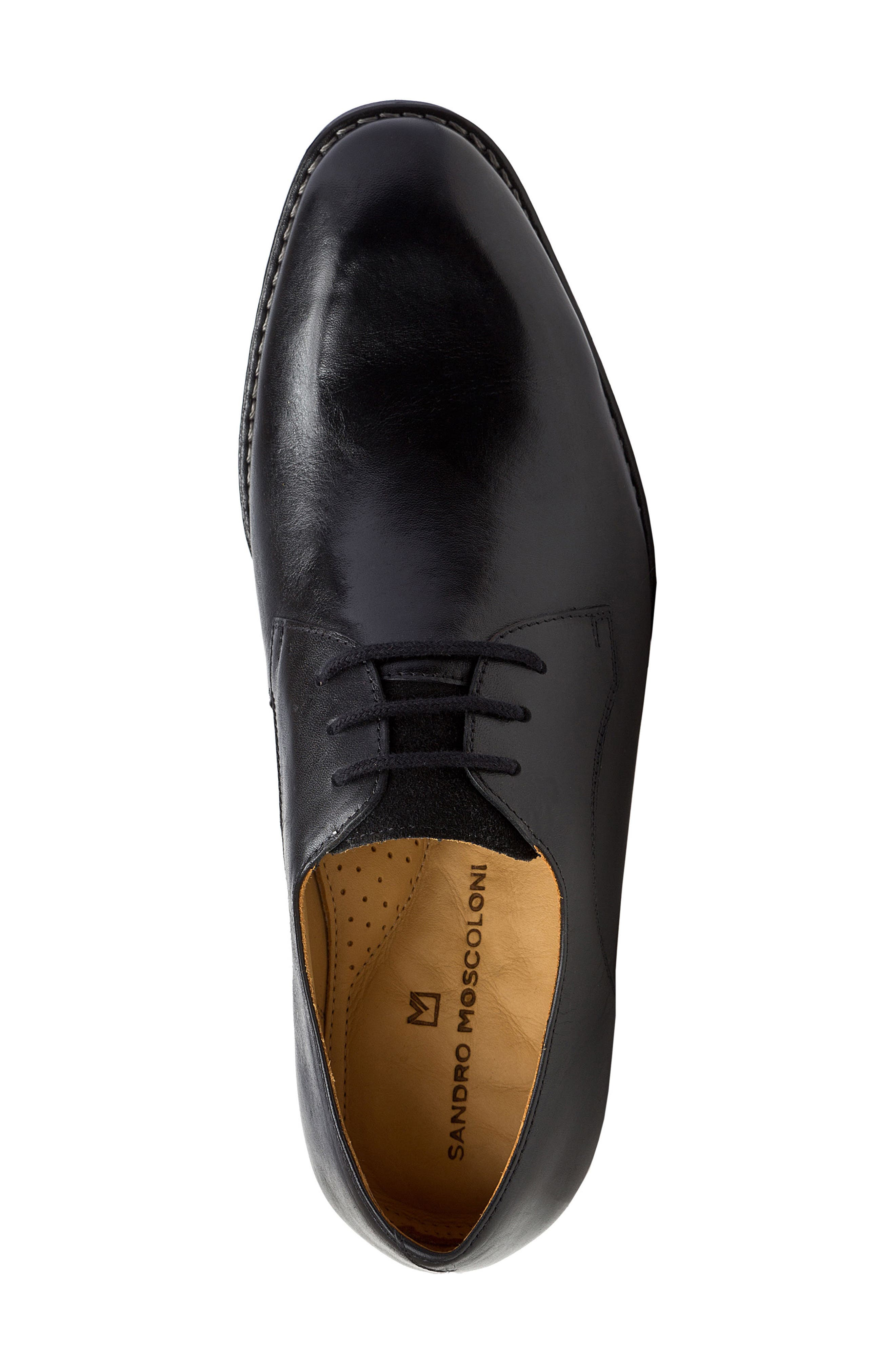SANDRO MOSCOLONI, Garret Plain Toe Derby, Alternate thumbnail 5, color, BLACK LEATHER