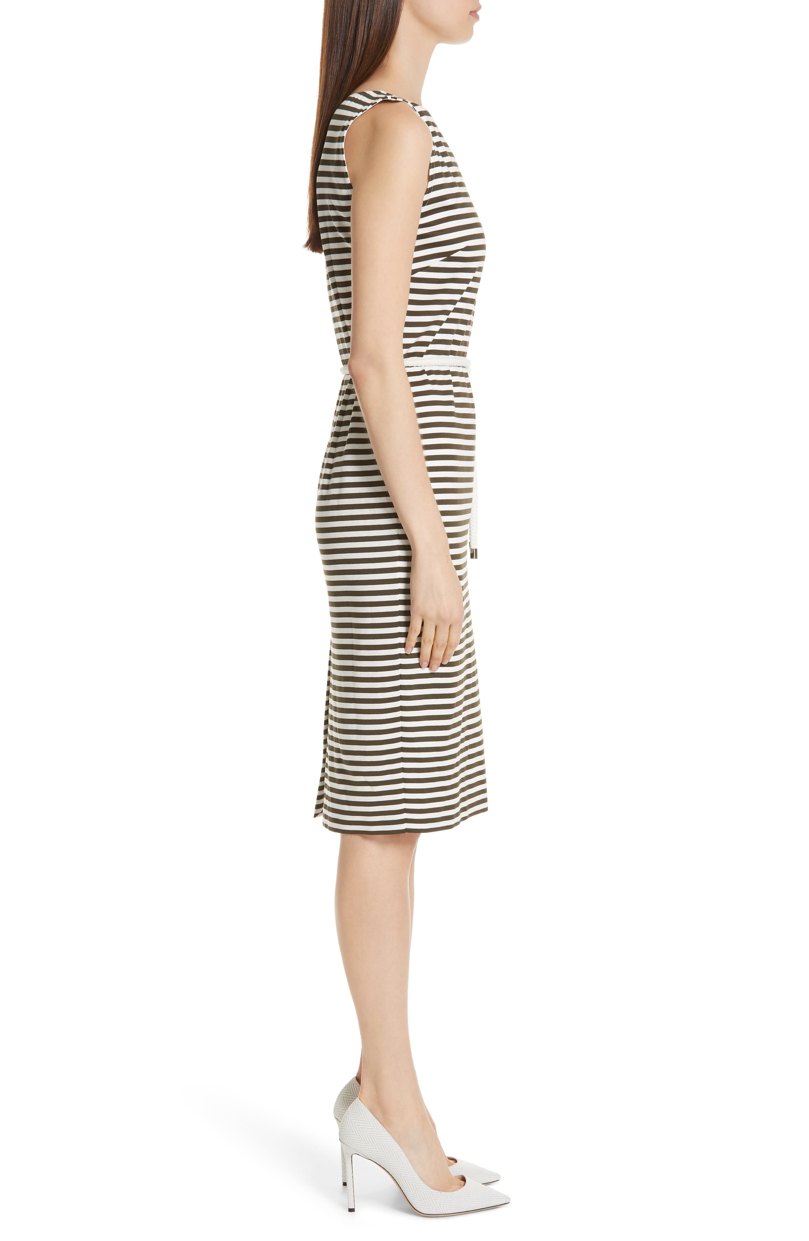 MAX MARA, Comica Stripe Dress, Alternate thumbnail 4, color, KAKI