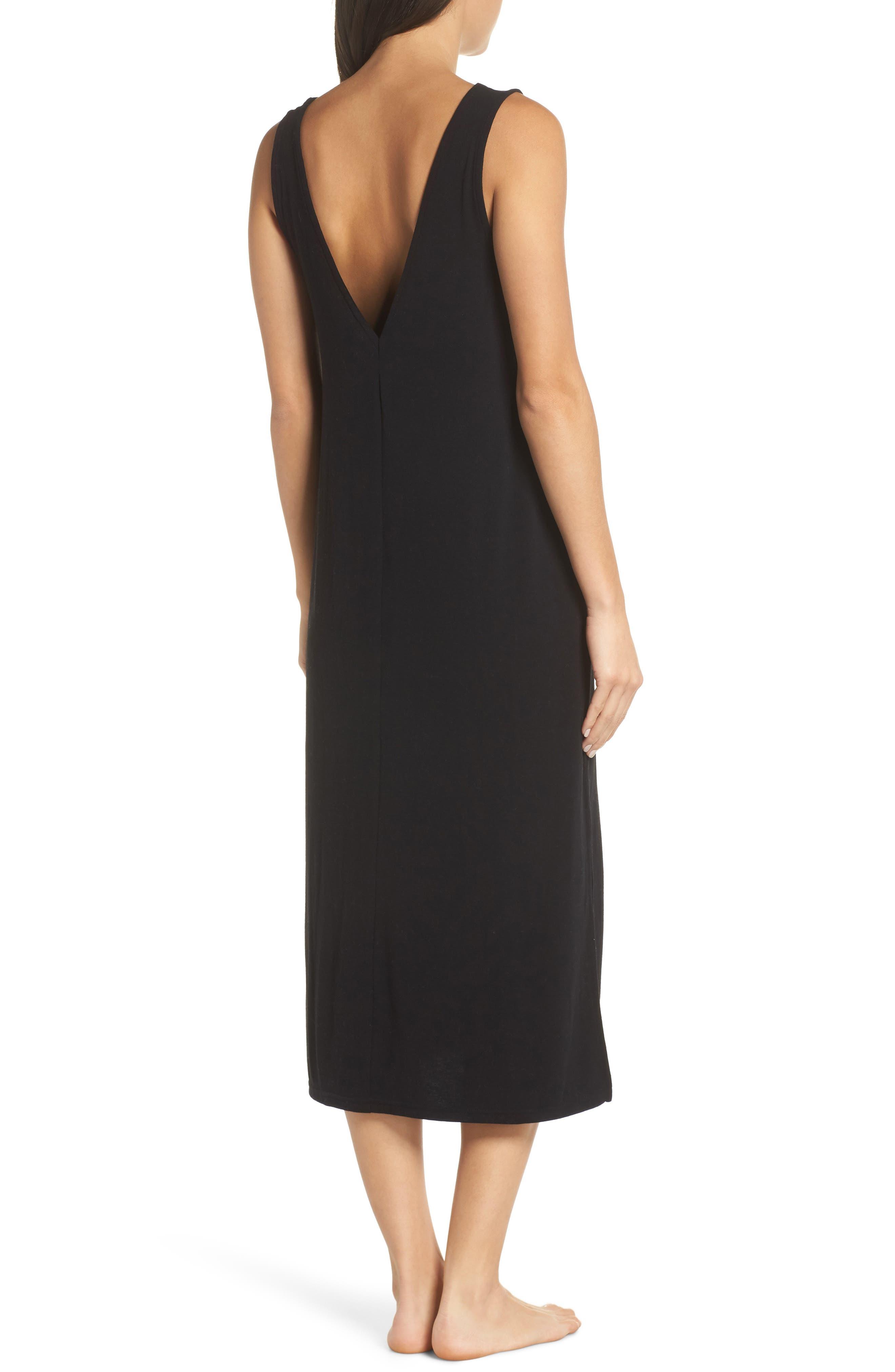 SOMETHING NAVY, Midi Nightgown, Alternate thumbnail 2, color, BLACK
