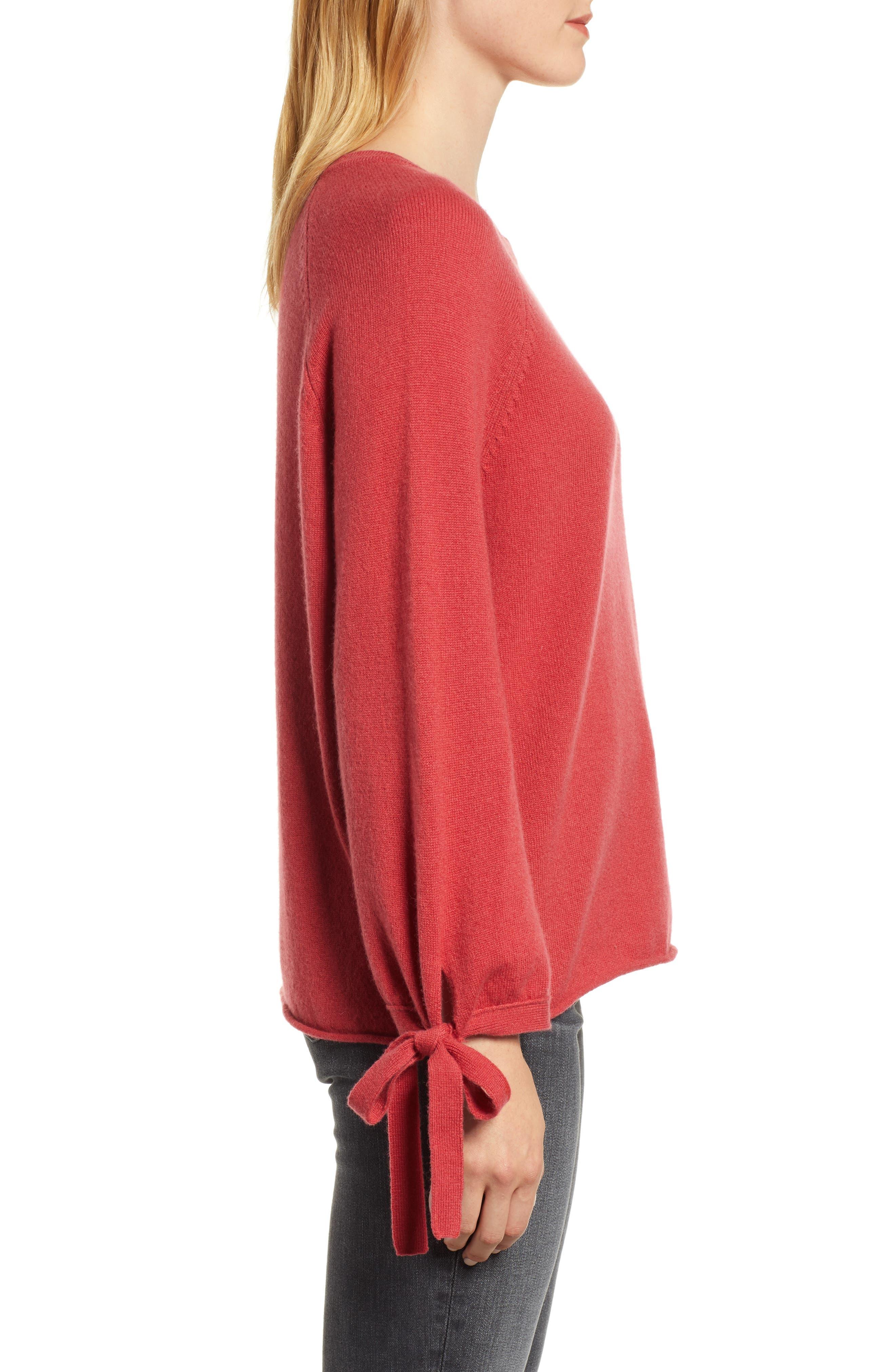 VELVET BY GRAHAM & SPENCER, Cashmere Tie Sleeve Sweater, Alternate thumbnail 3, color, SNAPPER