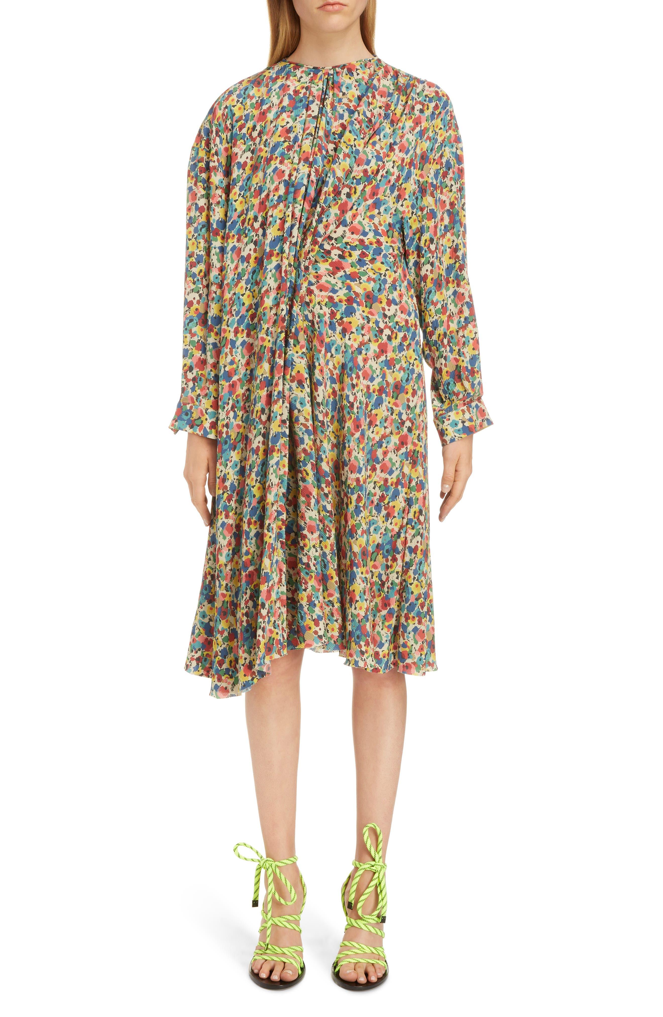 Balenciaga Floral Print Silk Dress, US / 44 FR - Red
