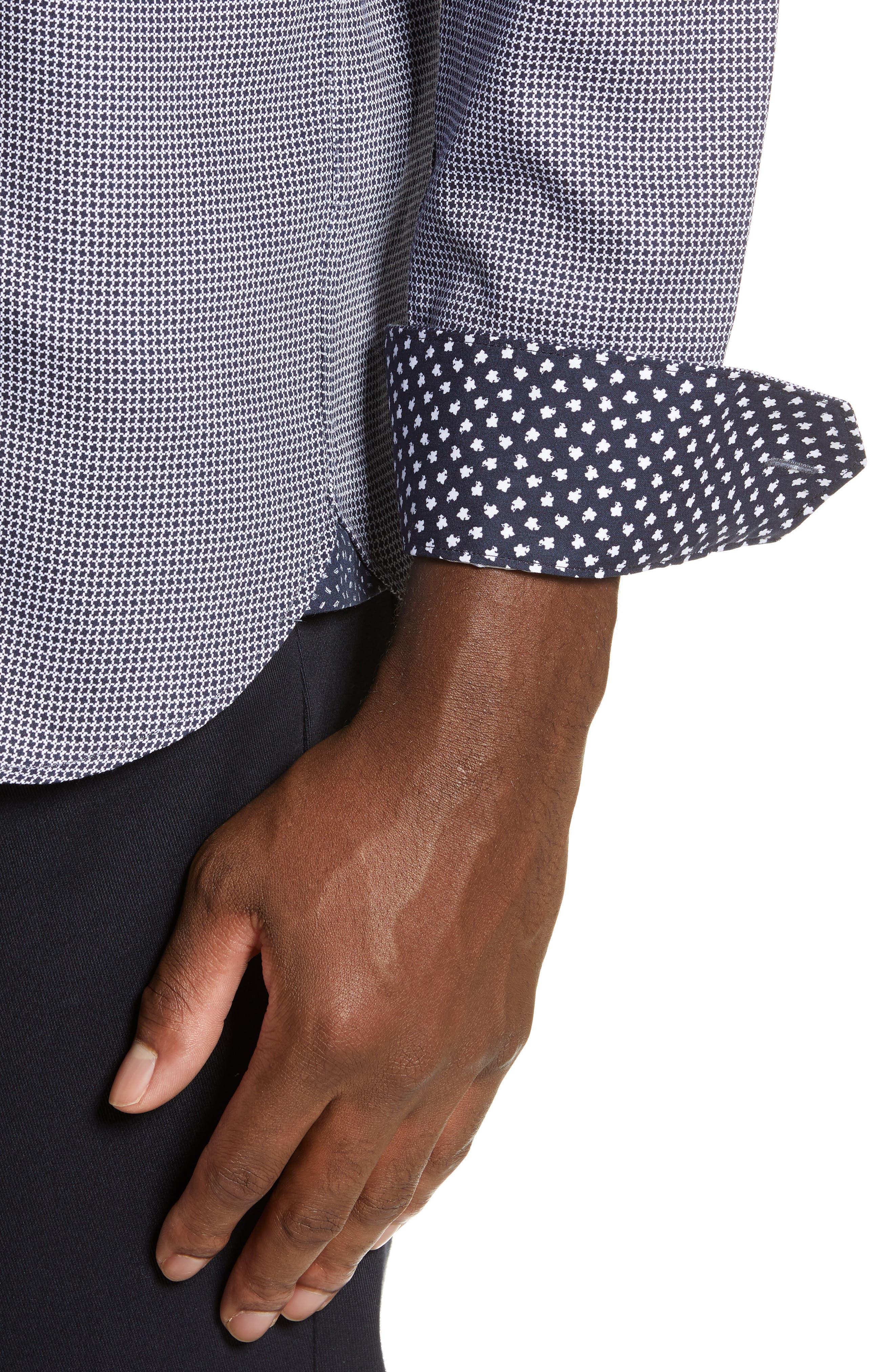 TED BAKER LONDON, Bloosem Slim Fit Print Sport Shirt, Alternate thumbnail 2, color, NAVY