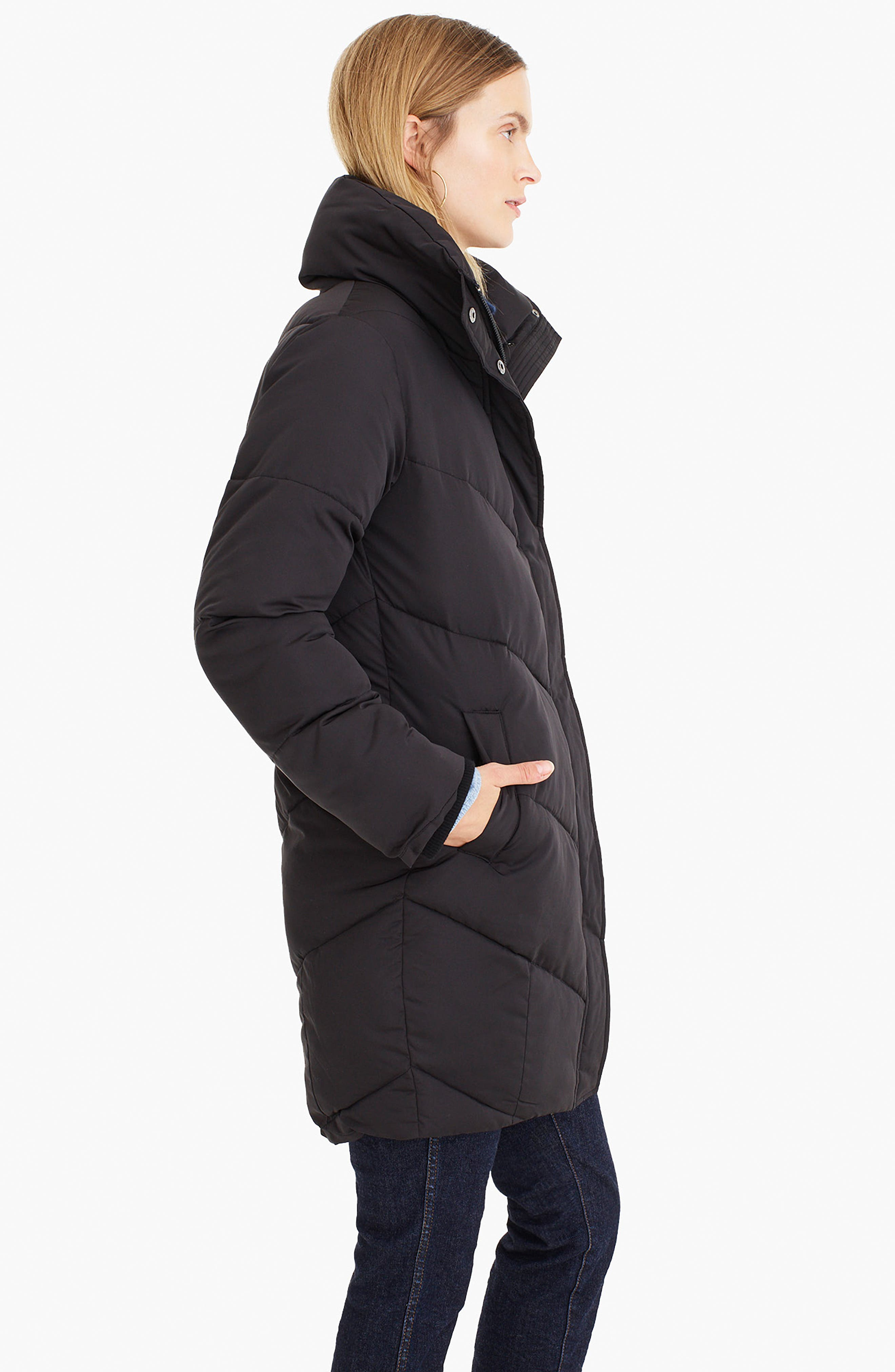 UNIVERSAL STANDARD, for J.Crew Chevron Long Puffer Coat, Alternate thumbnail 10, color, BLACK