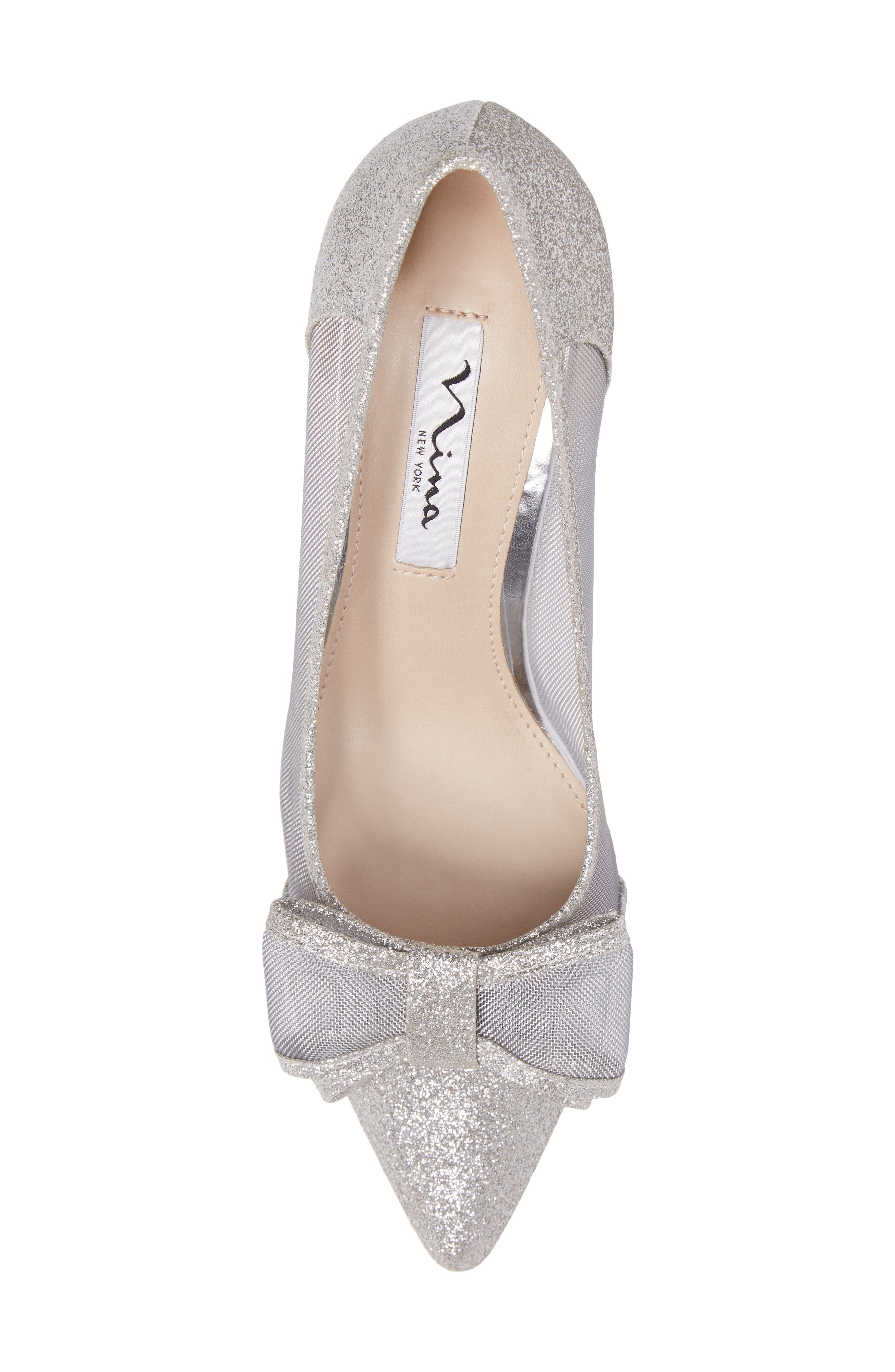 NINA, Bianca Pointy Toe Pump, Alternate thumbnail 5, color, SOFT SILVER GLITTER FABRIC