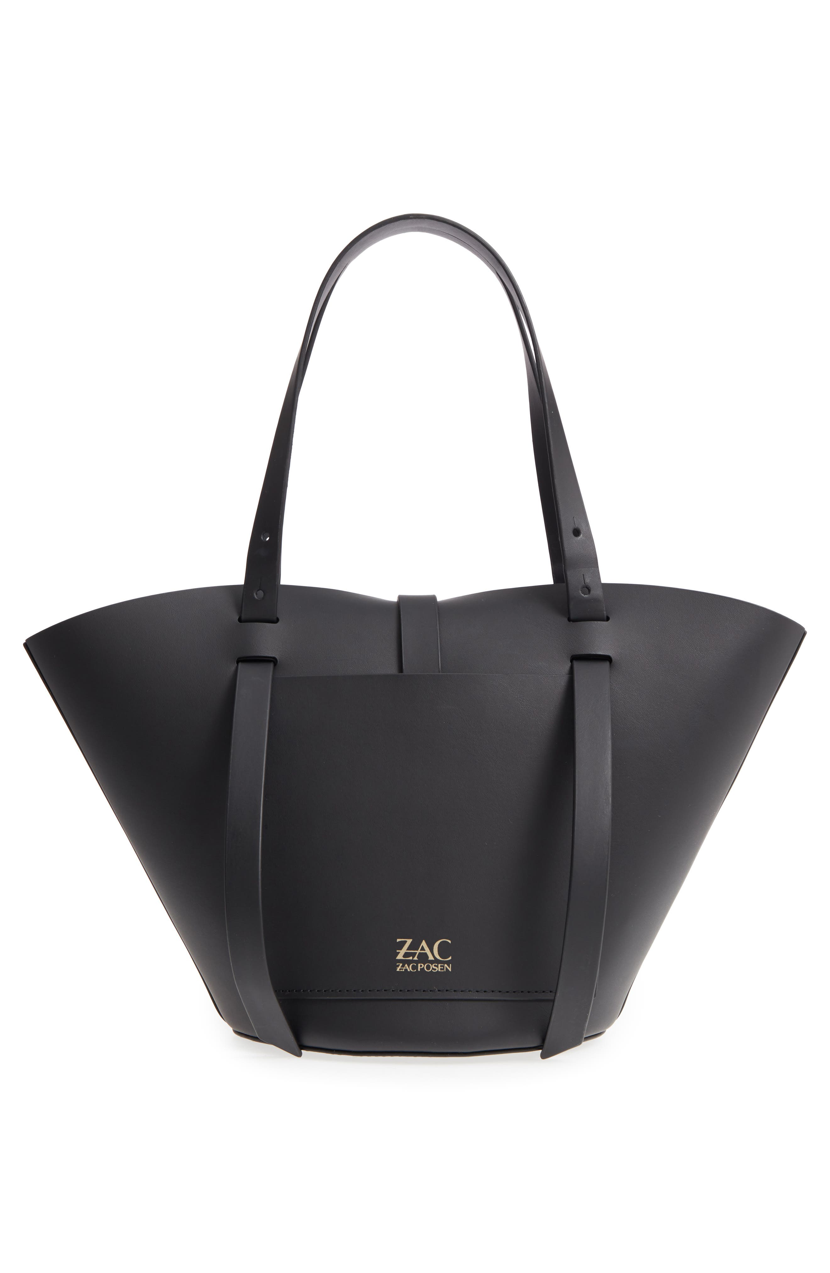 ZAC ZAC POSEN, Small Belay Leather Tote, Alternate thumbnail 3, color, 001