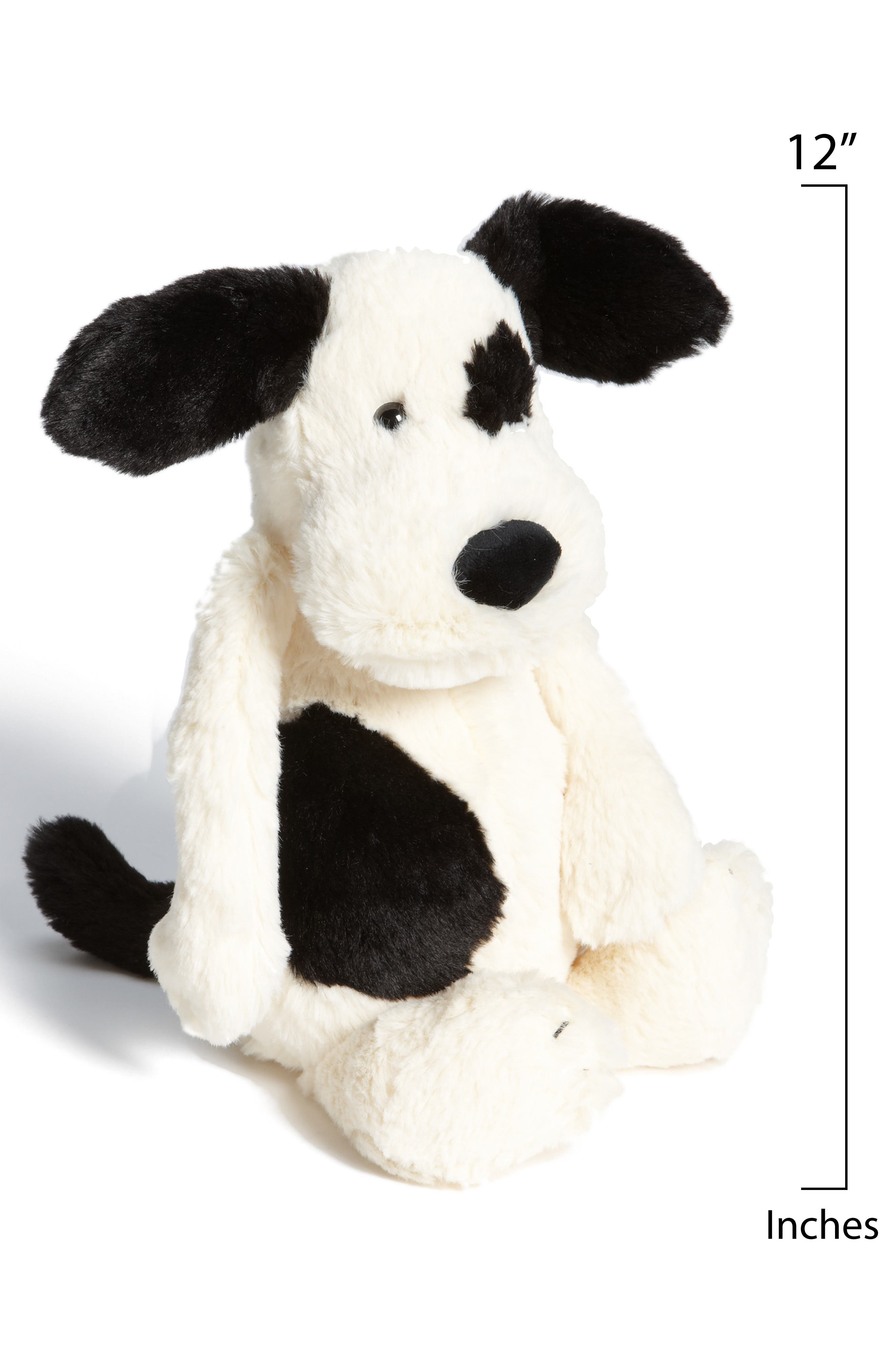 JELLYCAT, 'Bashful' Puppy, Alternate thumbnail 2, color, BLACK AND CREAM