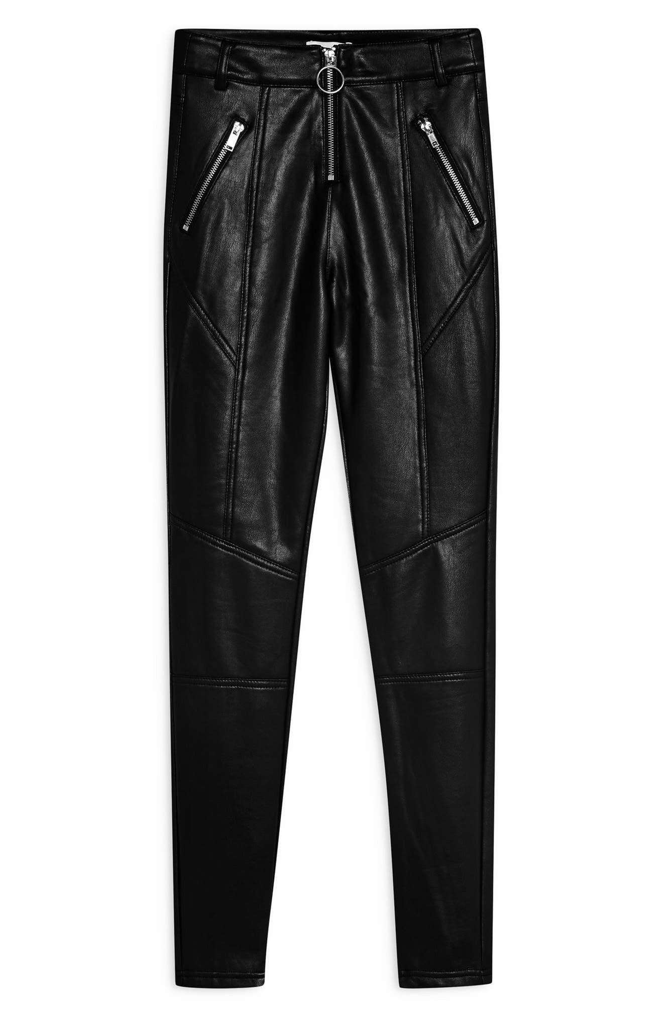 TOPSHOP, Faux Leather Skinny Biker Pants, Alternate thumbnail 5, color, BLACK