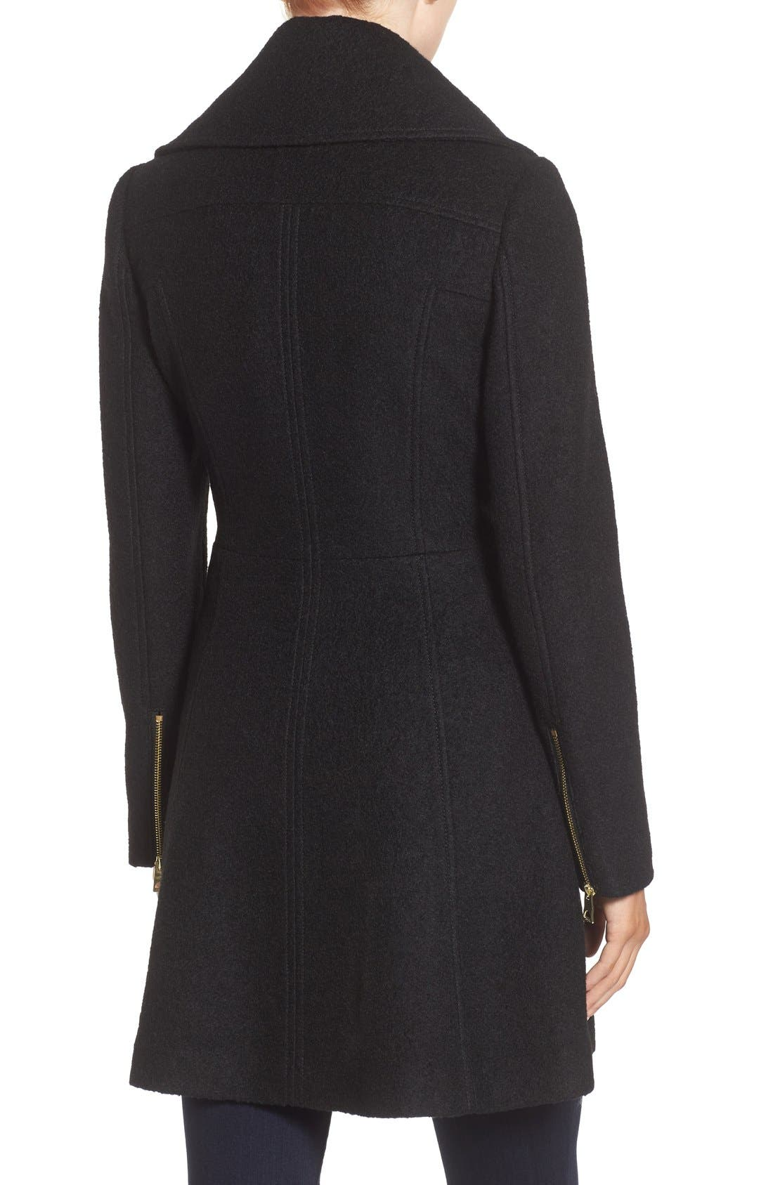 GUESS, Envelope Collar Double Breasted Coat, Alternate thumbnail 3, color, 001