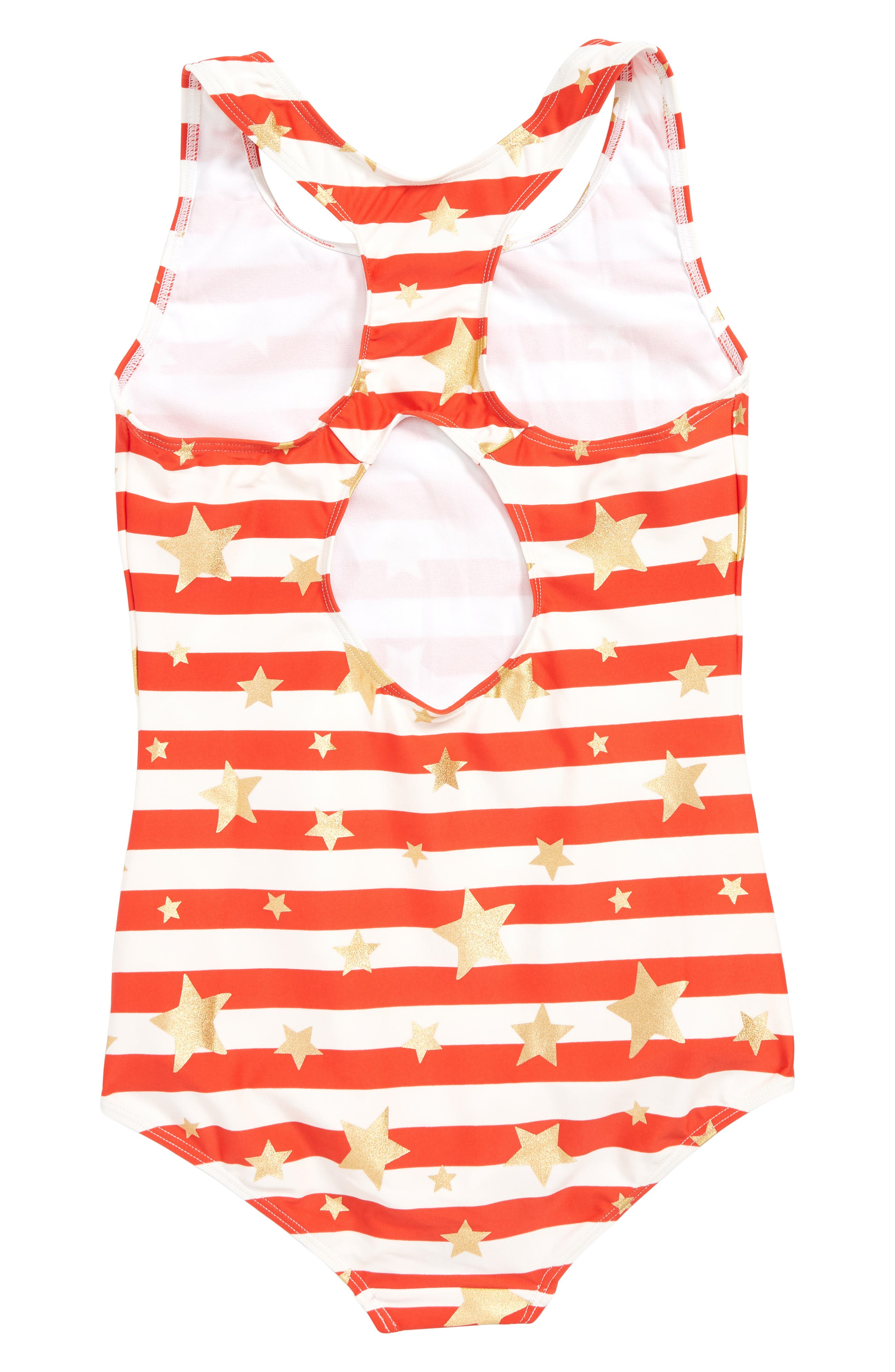 MINI BODEN, Print One-Piece Swimsuit, Alternate thumbnail 2, color, RED SUNSET GOLD HEART BRETON
