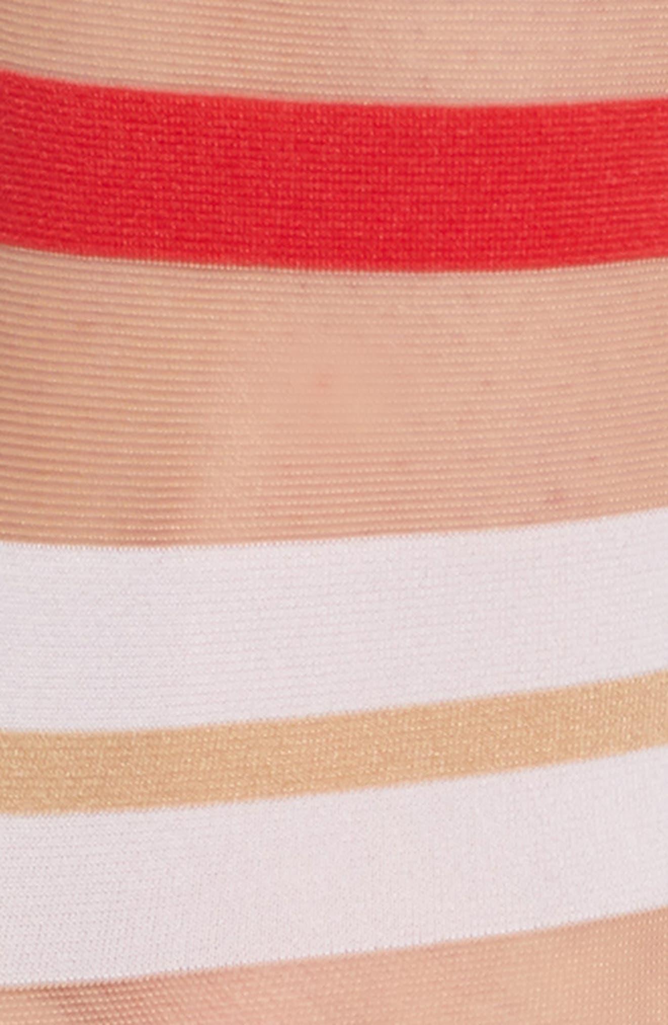 WOLFORD, Boogie Stripe Crew Socks, Alternate thumbnail 2, color, GOBI/ WHITE/ RED