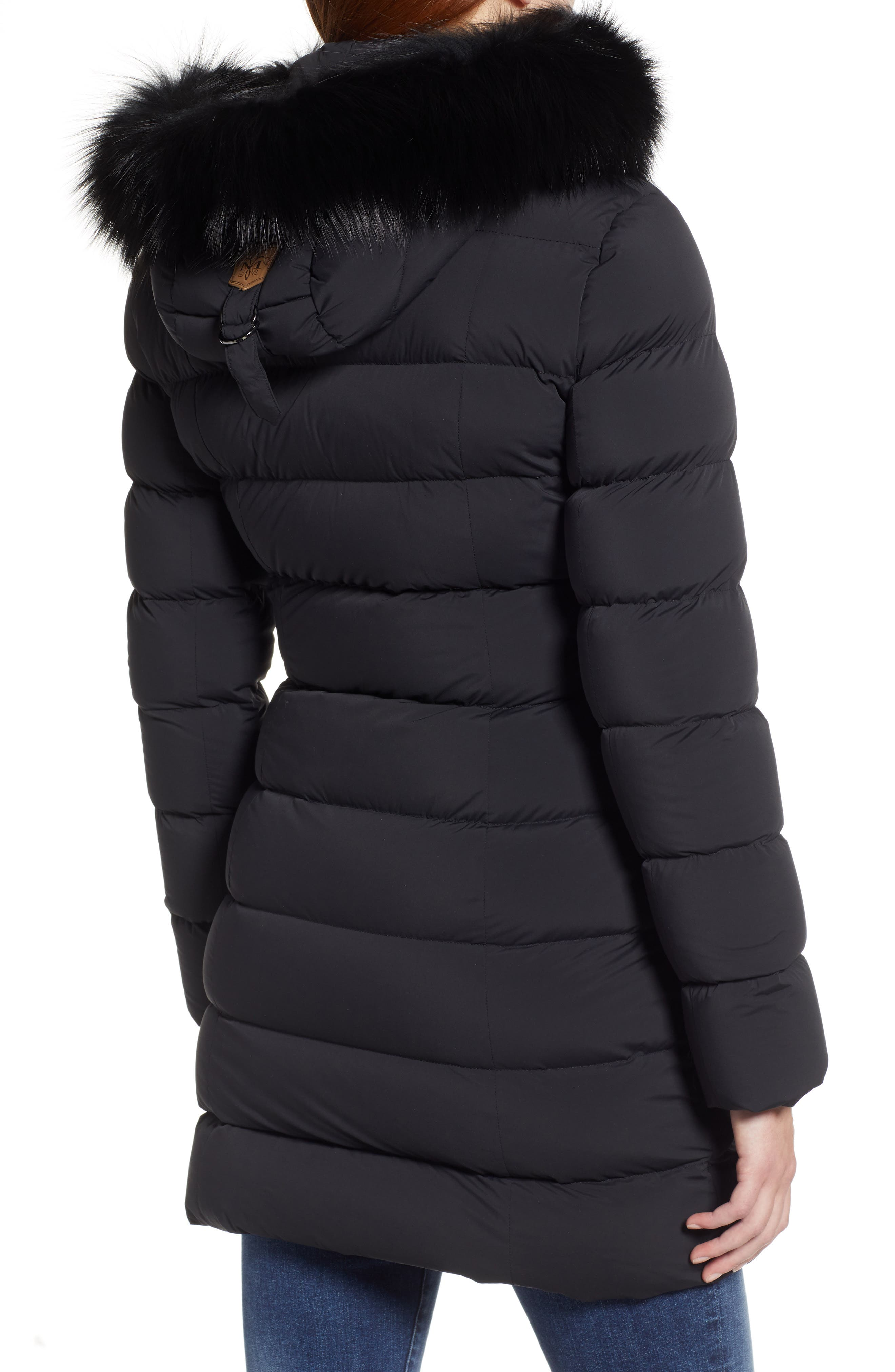 MACKAGE, Calla Genuine Fox Fur Trim Hooded Down Coat, Alternate thumbnail 2, color, BLACK