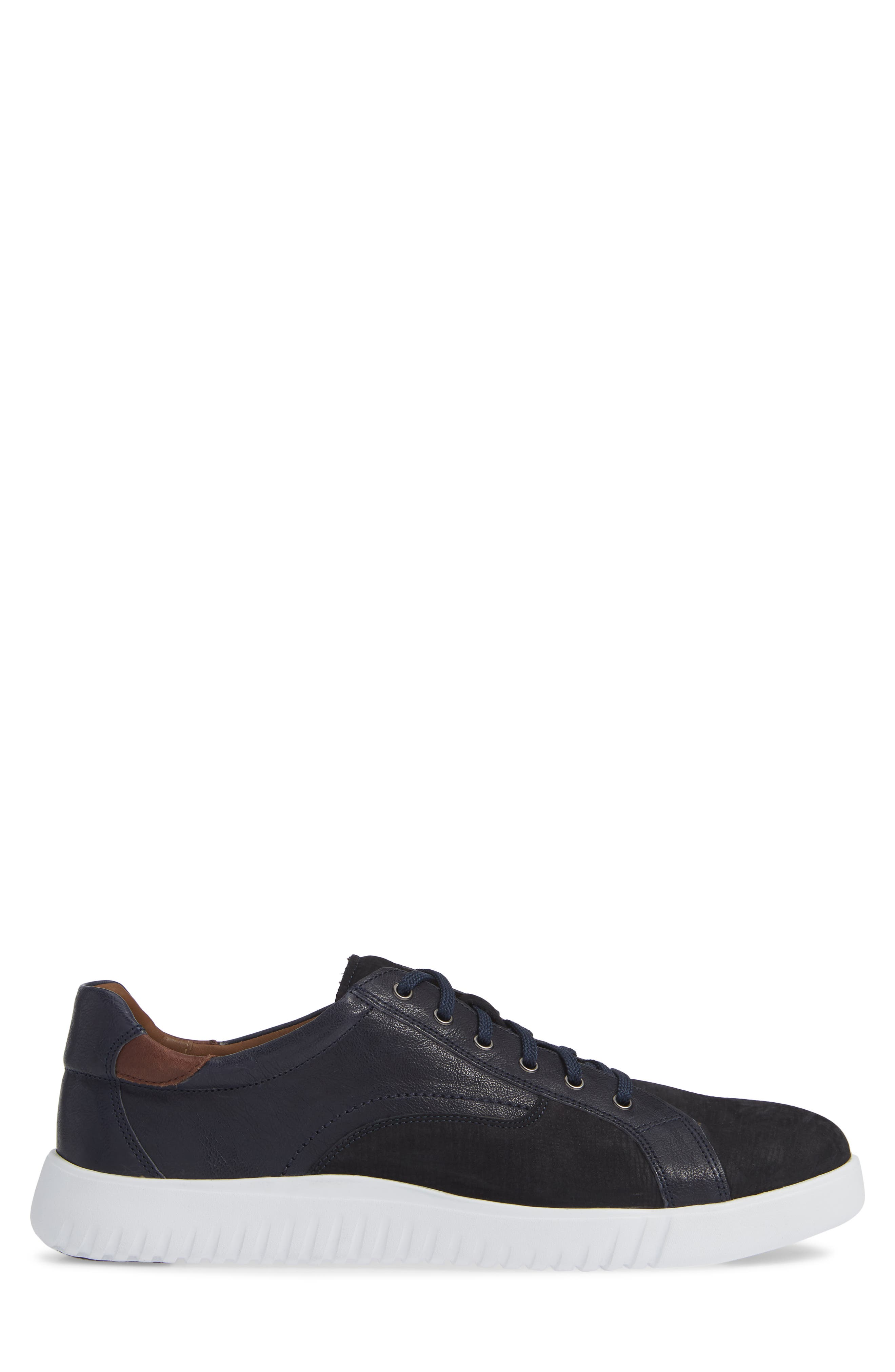 JOHNSTON & MURPHY, McFarland Sneaker, Alternate thumbnail 3, color, NAVY NUBUCK