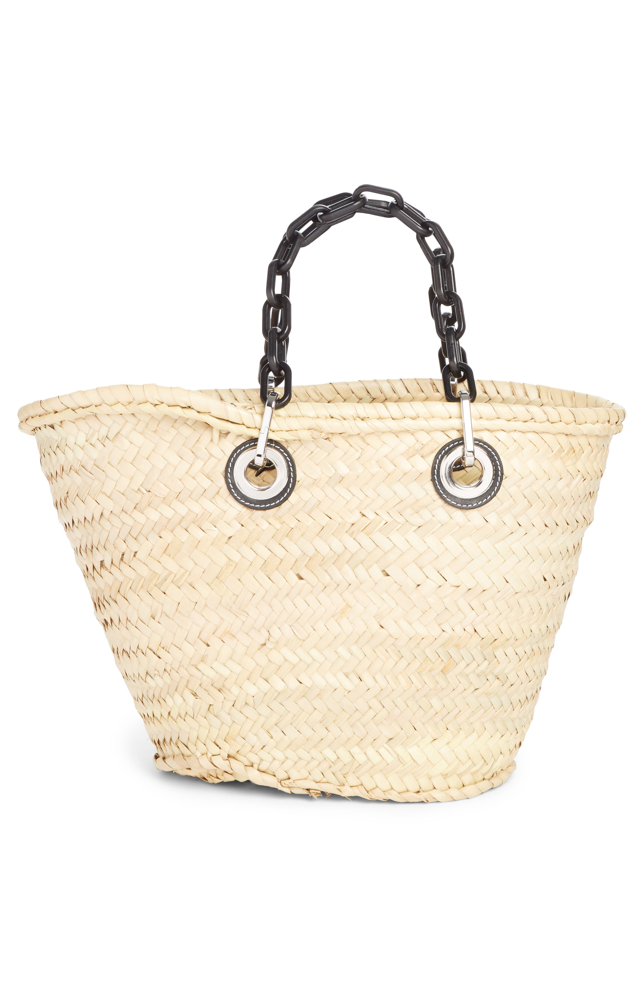 LOEWE, Chain Handle Woven Palm Market Basket, Alternate thumbnail 3, color, NATURAL/ BLACK