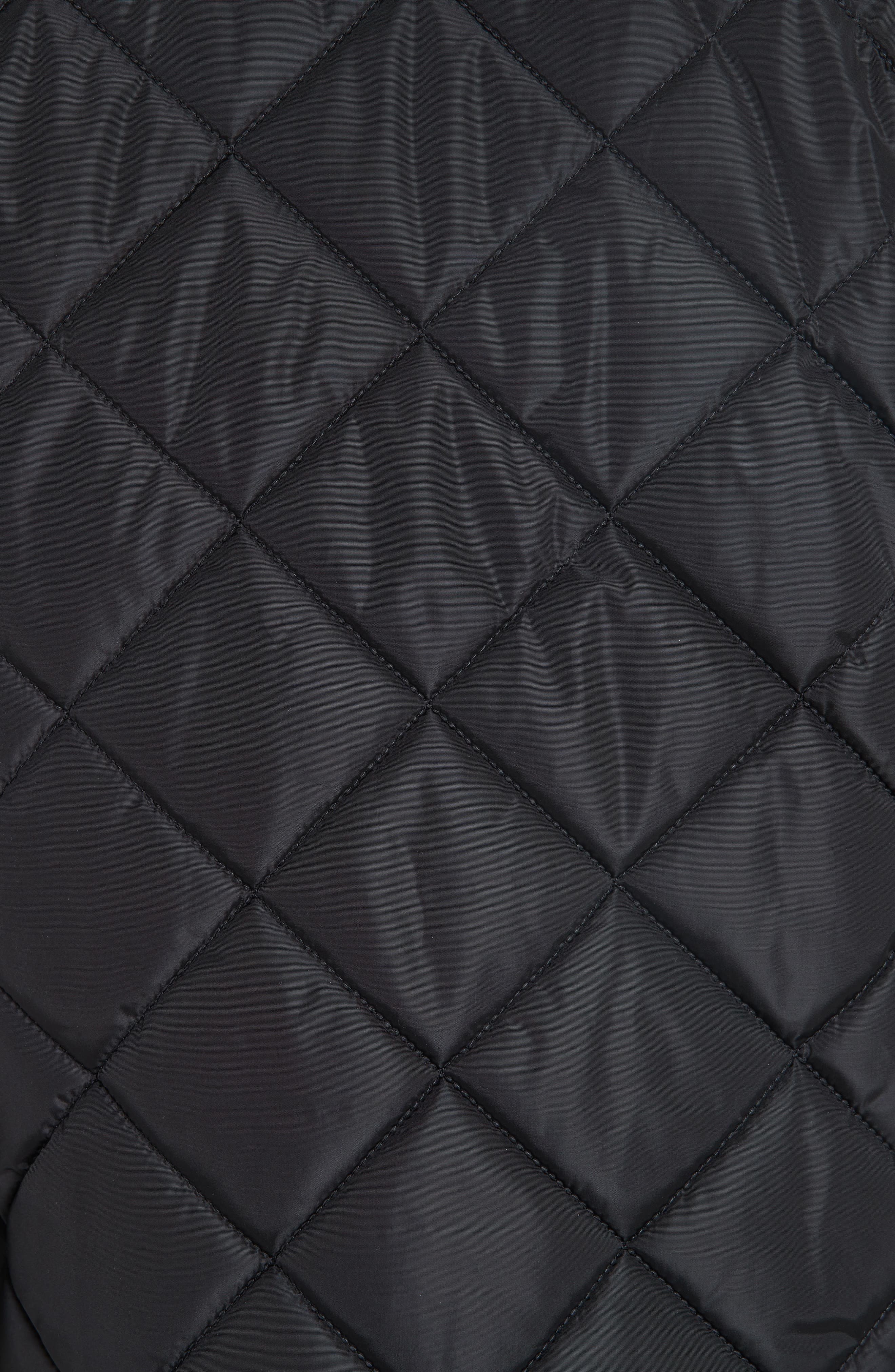 GUCCI, Ruffle Trim Quilted Caban, Alternate thumbnail 6, color, NERO