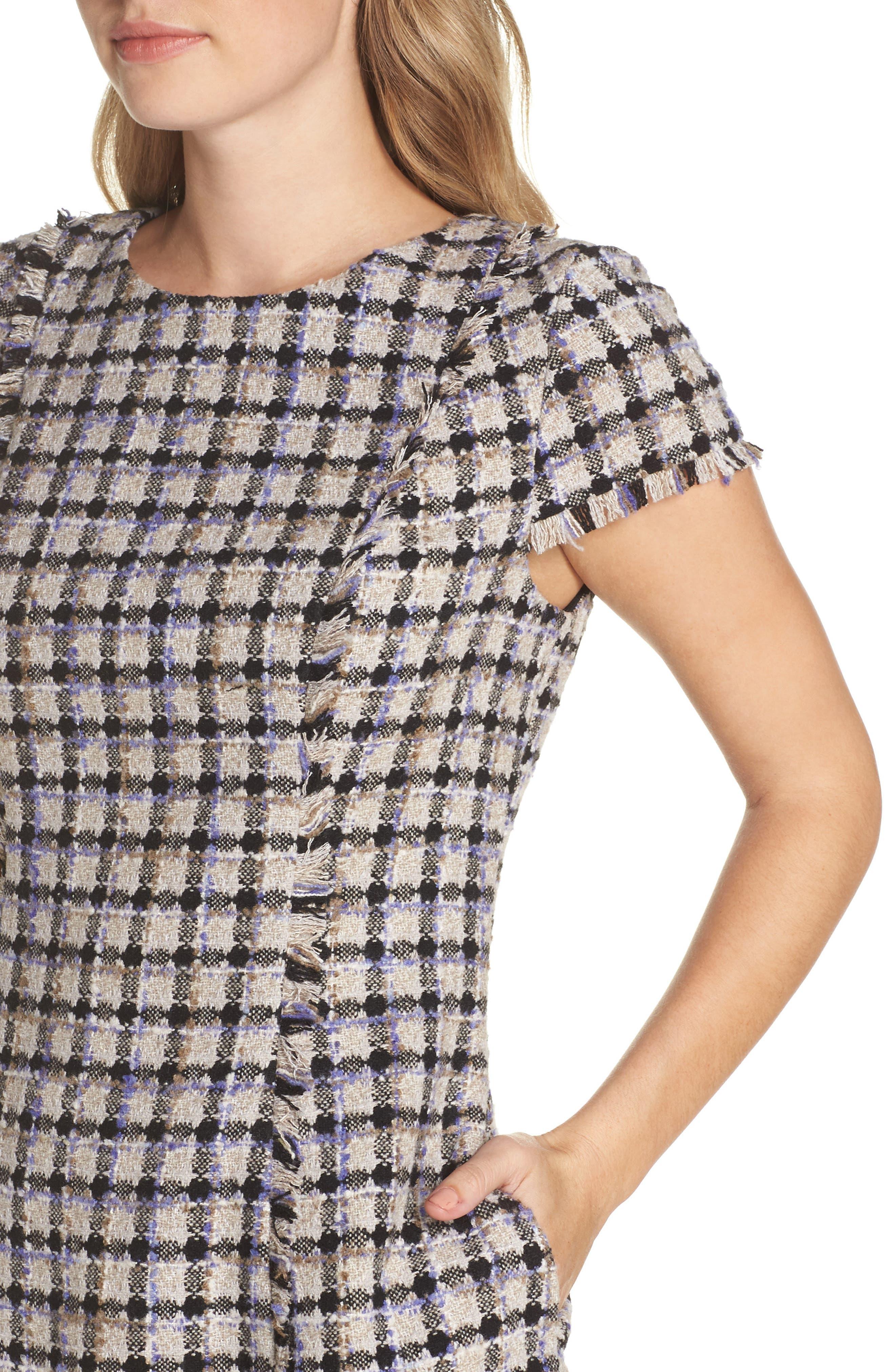 ELIZA J, Cap Sleeve Fit & Flare Dress, Alternate thumbnail 5, color, 900