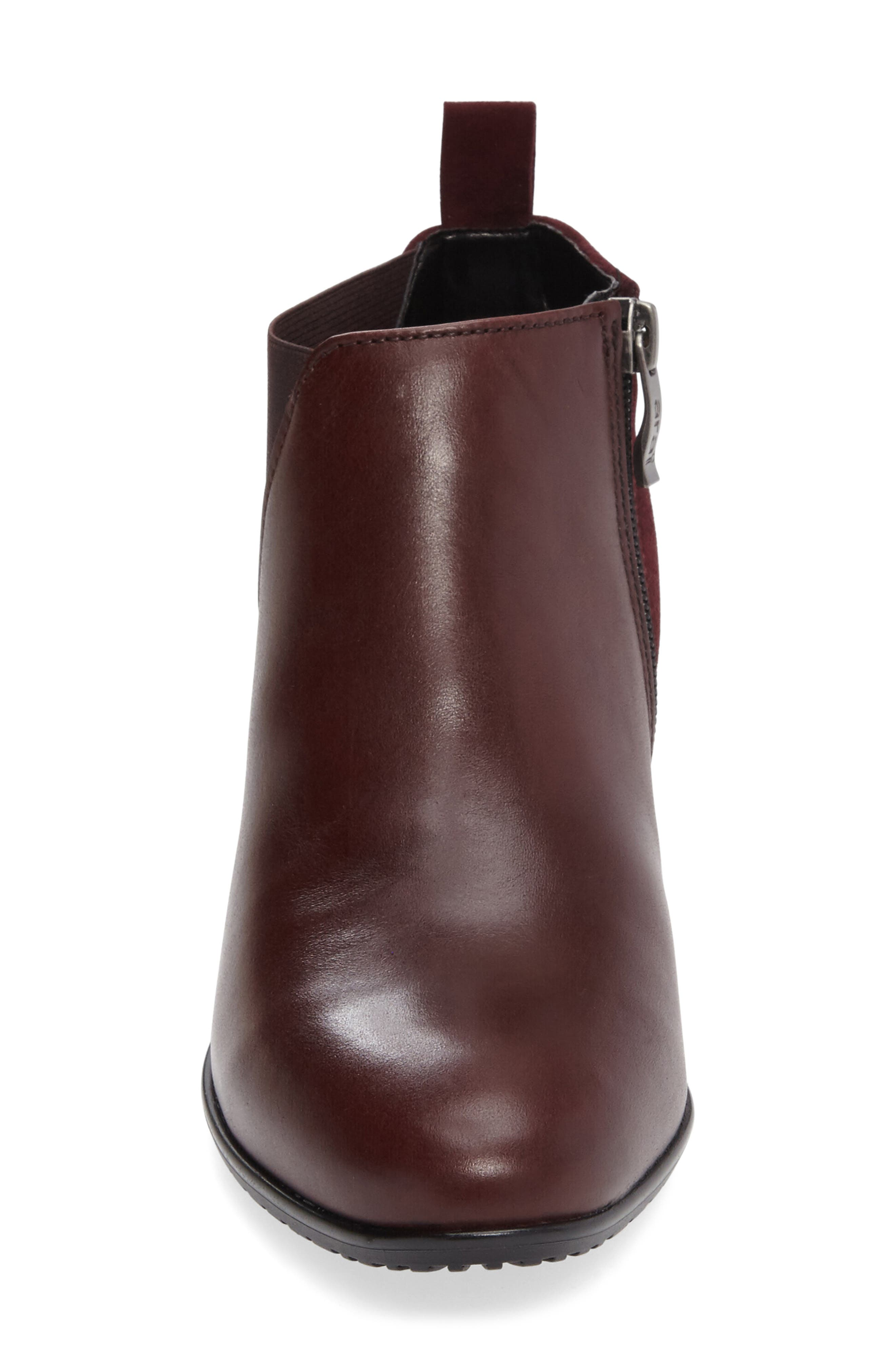 ARA, 'Patty' Block Heel Boot, Alternate thumbnail 3, color, BURGUNDY LEATHER