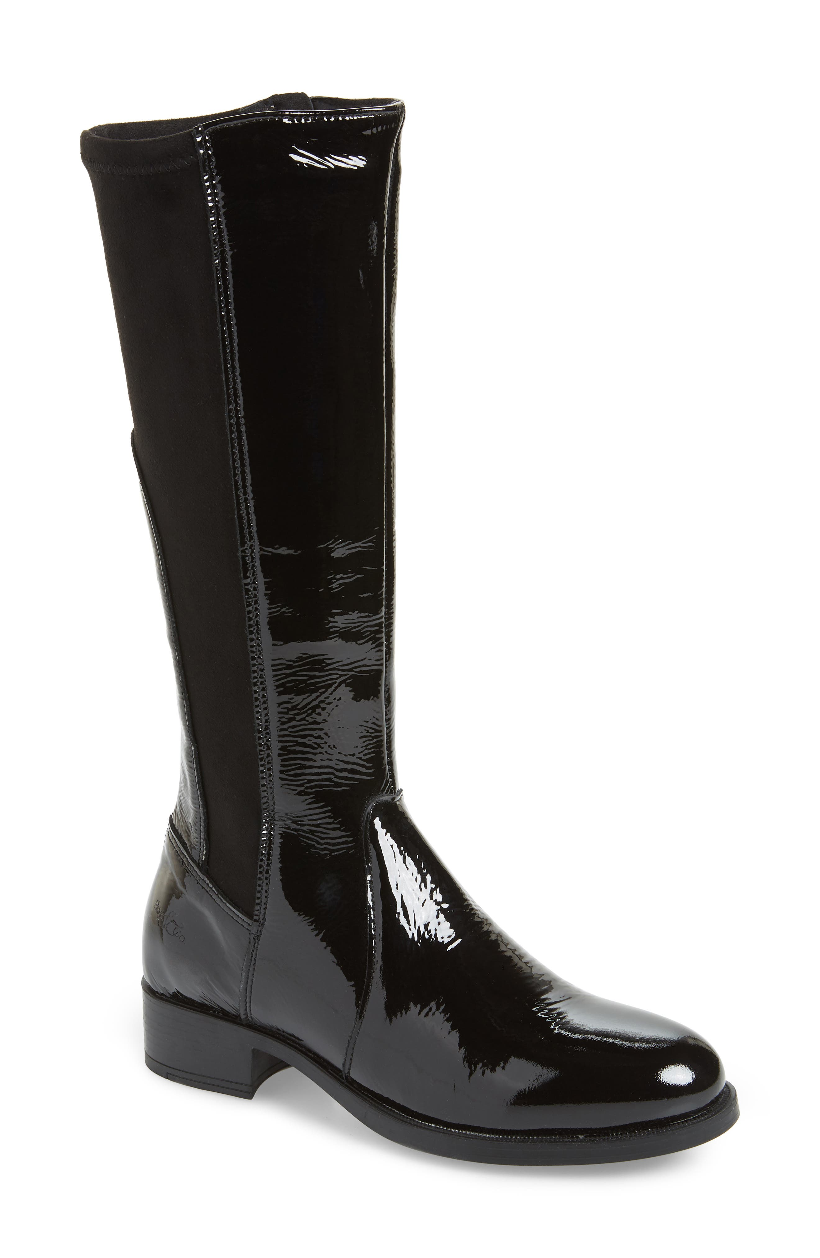 BOS. & CO., Brook Waterproof Knee High Boot, Main thumbnail 1, color, BLACK PATENT LEATHER