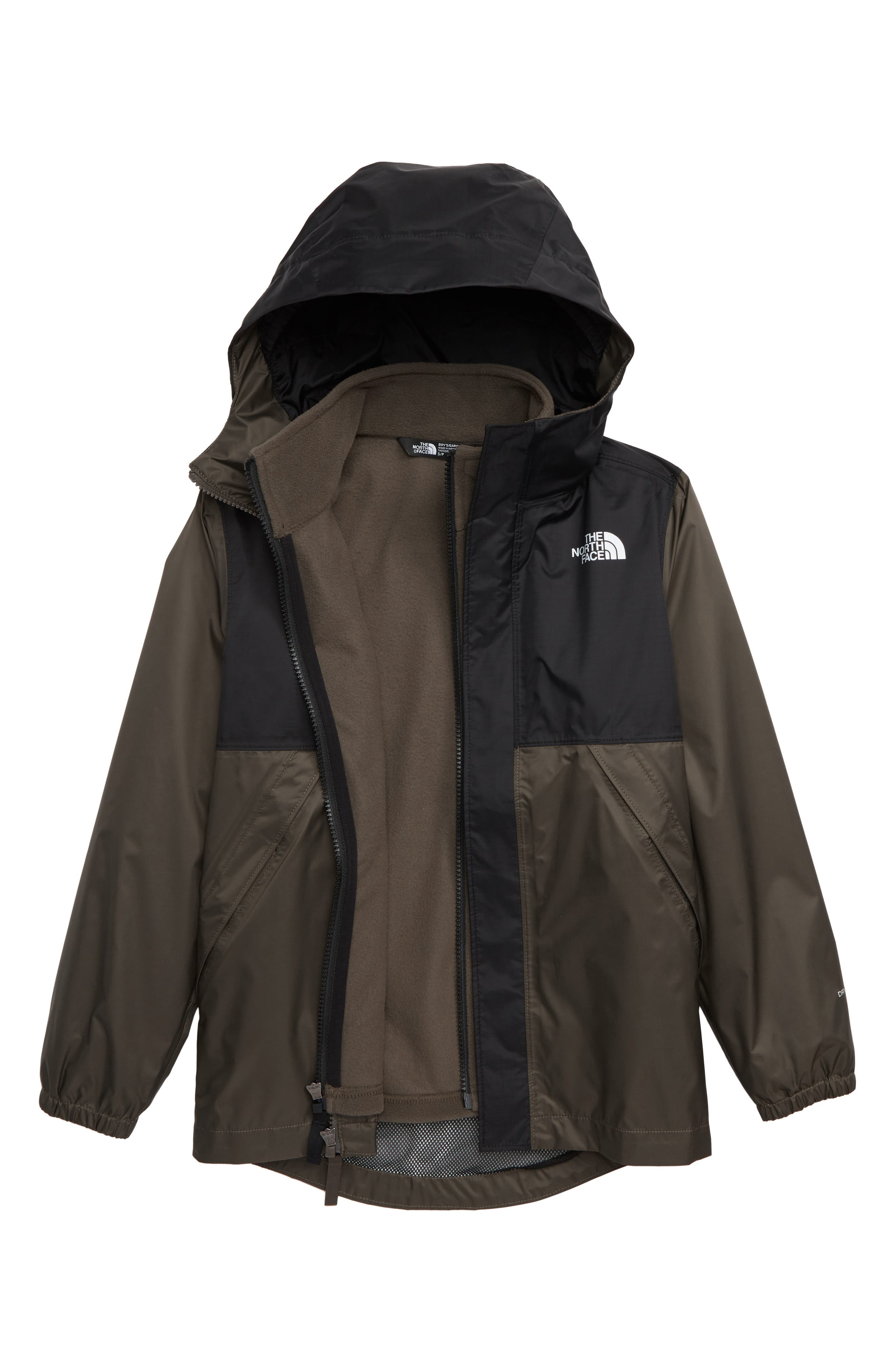 THE NORTH FACE Stormy Rain Triclimate<sup>®</sup> Waterproof 3-in-1 Jacket, Main, color, TAUPE GREEN