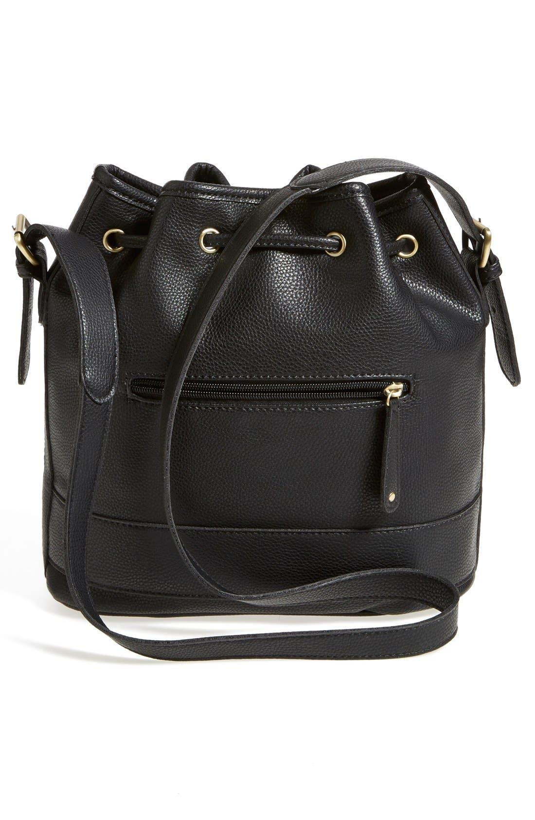 STREET LEVEL, 'Concha' Faux Leather Bucket Bag, Alternate thumbnail 4, color, 001
