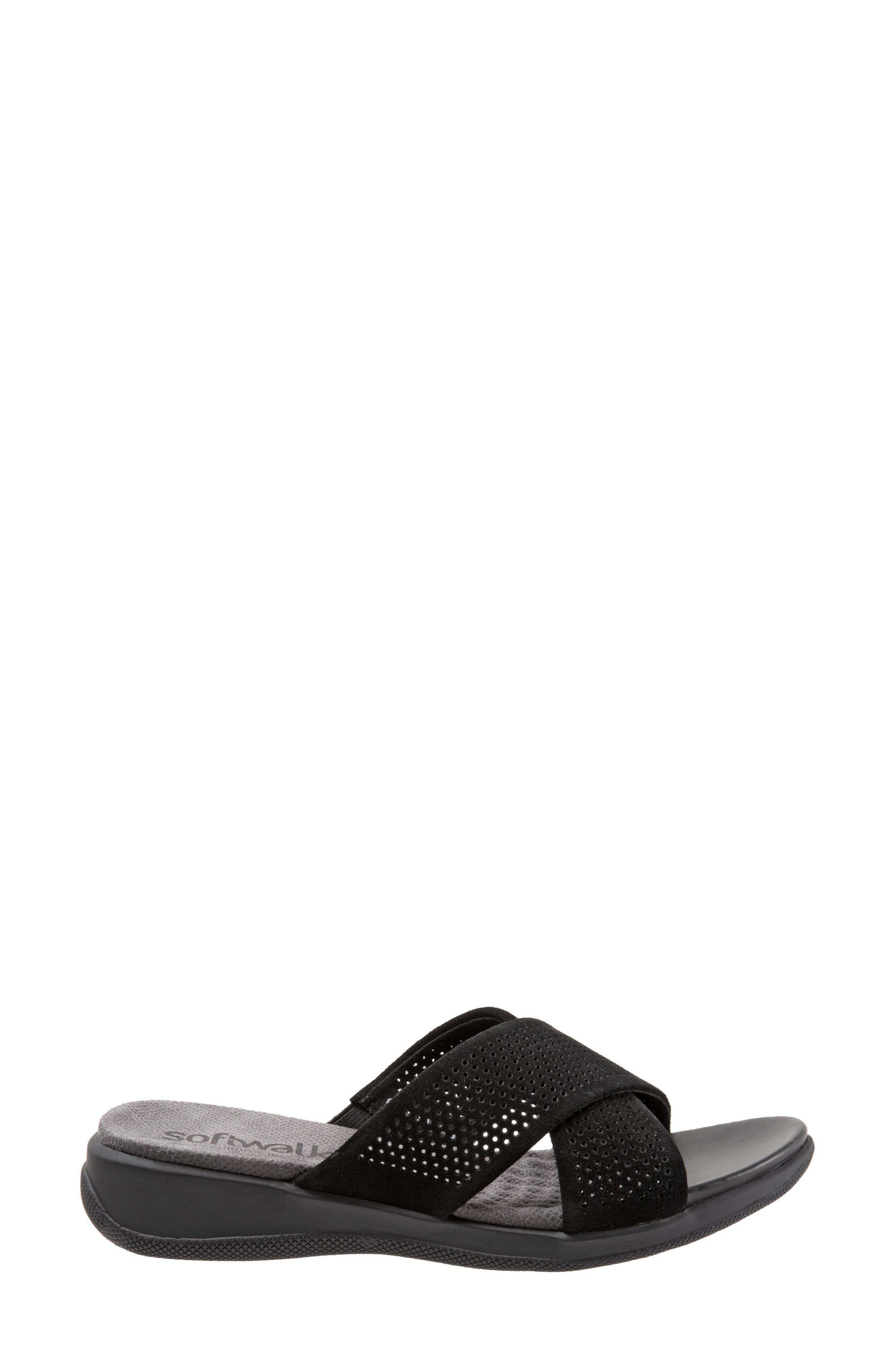 SOFTWALK<SUP>®</SUP>, 'Tillman' Leather Cross Strap Slide Sandal, Alternate thumbnail 3, color, 002
