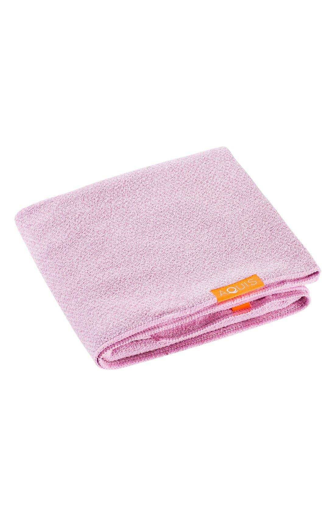 AQUIS, Lisse Luxe Desert Rose Hair Towel, Alternate thumbnail 2, color, DESERT ROSE