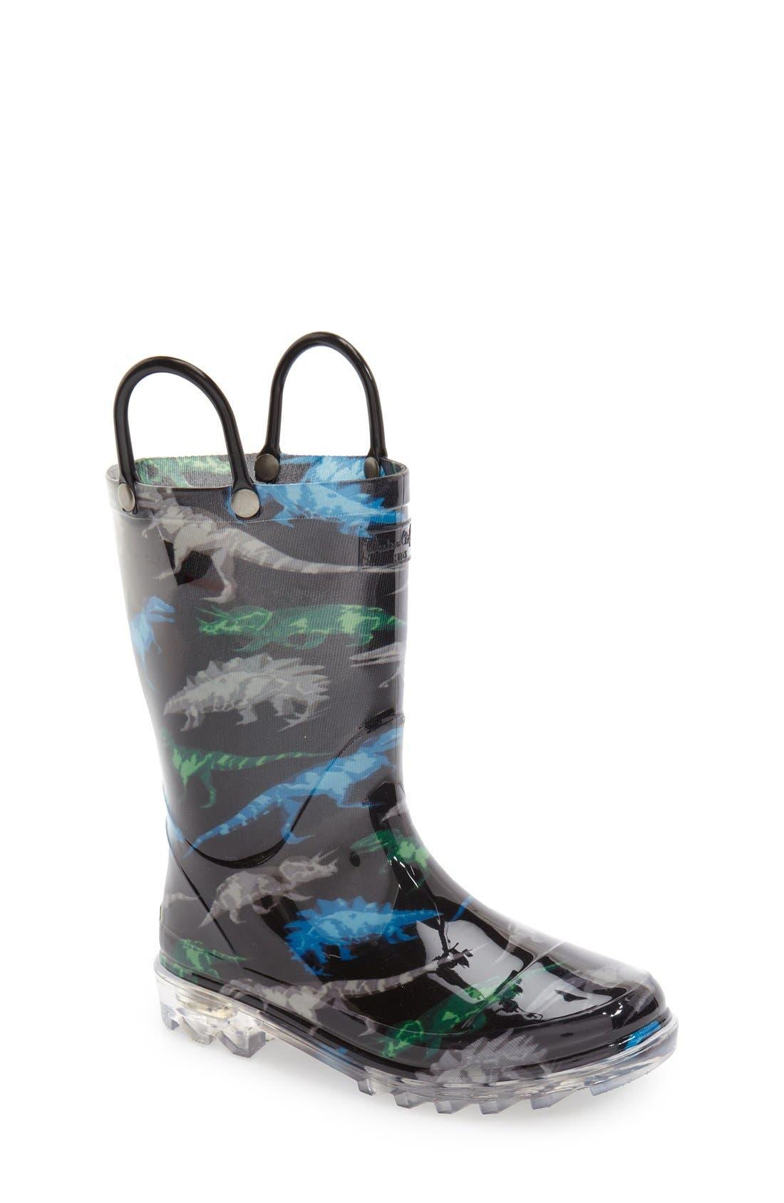 WESTERN CHIEF, Dinosaur Friends Light-Up Waterproof Rain Boot, Main thumbnail 1, color, BLACK