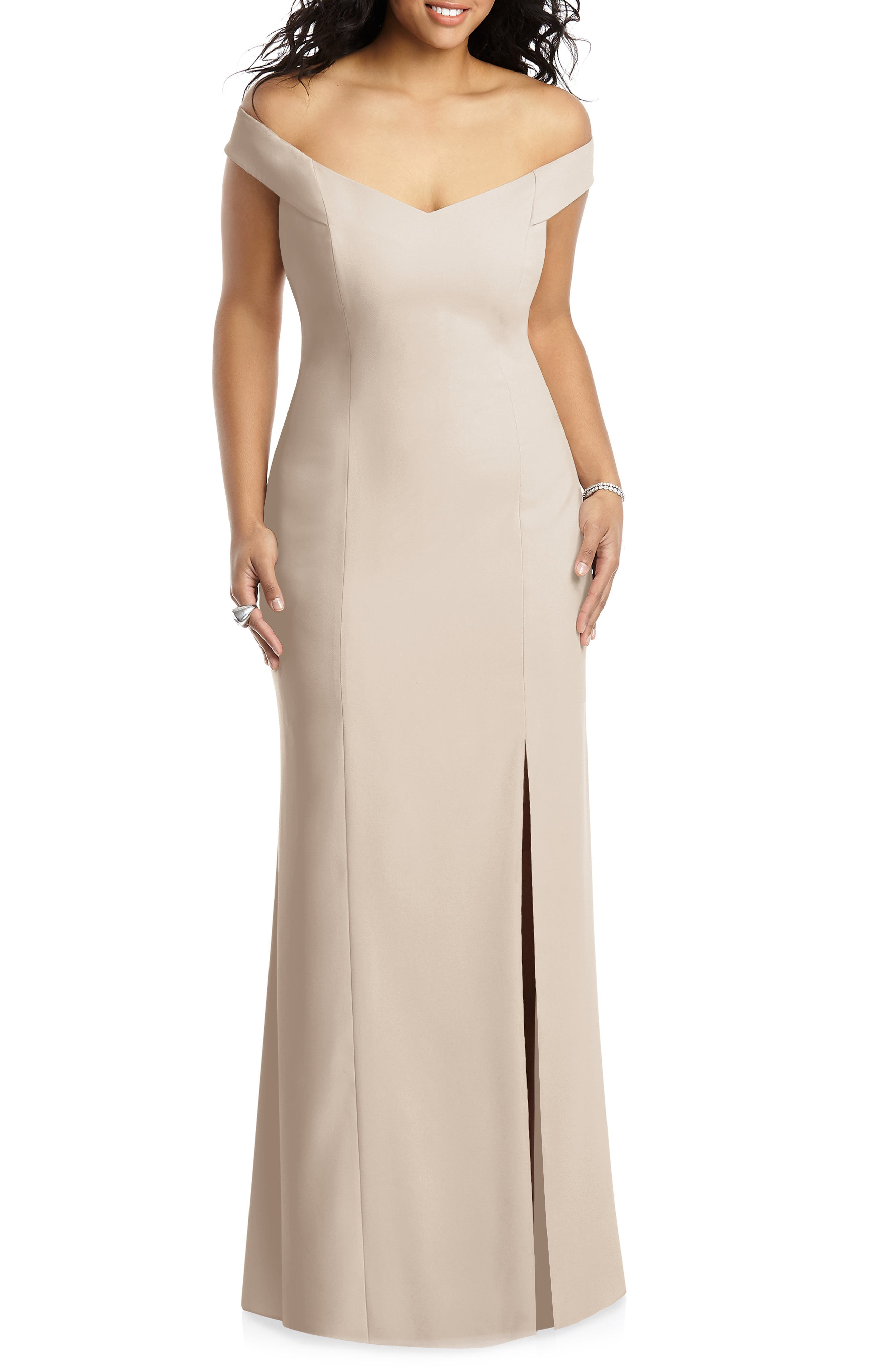 Plus Size Dessy Collection Off The Shoulder Crossback Gown